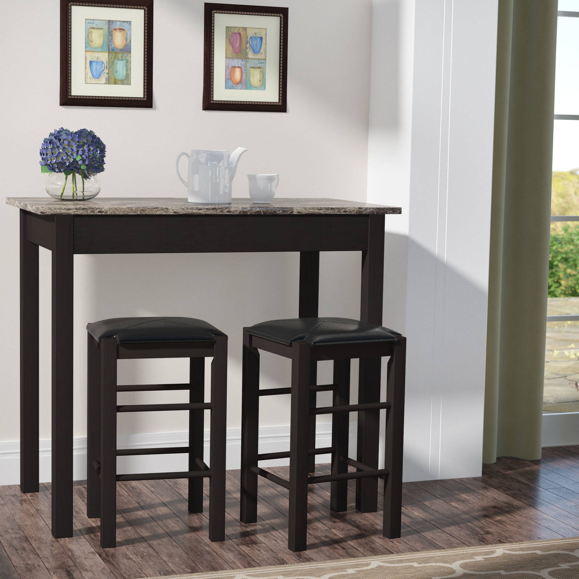 Miskell 3 Piece Dining Sets Regarding Most Current Winston Porter Sheetz 3 Piece Counter Height Dining Set & Reviews (#9 of 20)