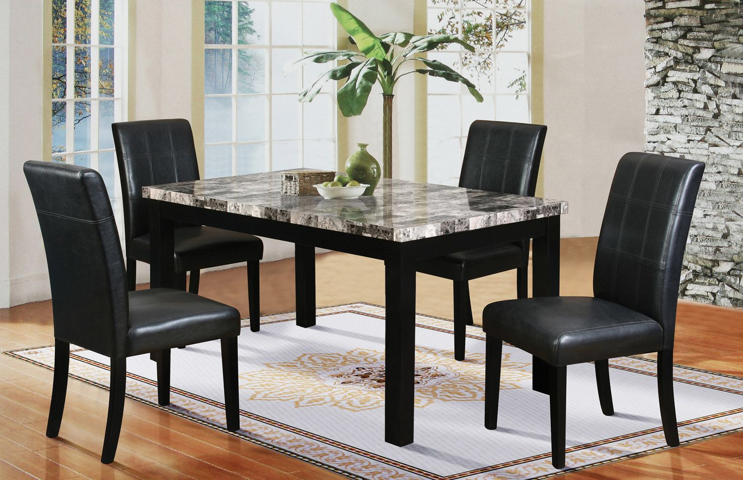 Miskell 3 Piece Dining Sets With Regard To Most Popular 5 Piece Faux Marble Dining Set (#10 of 20)
