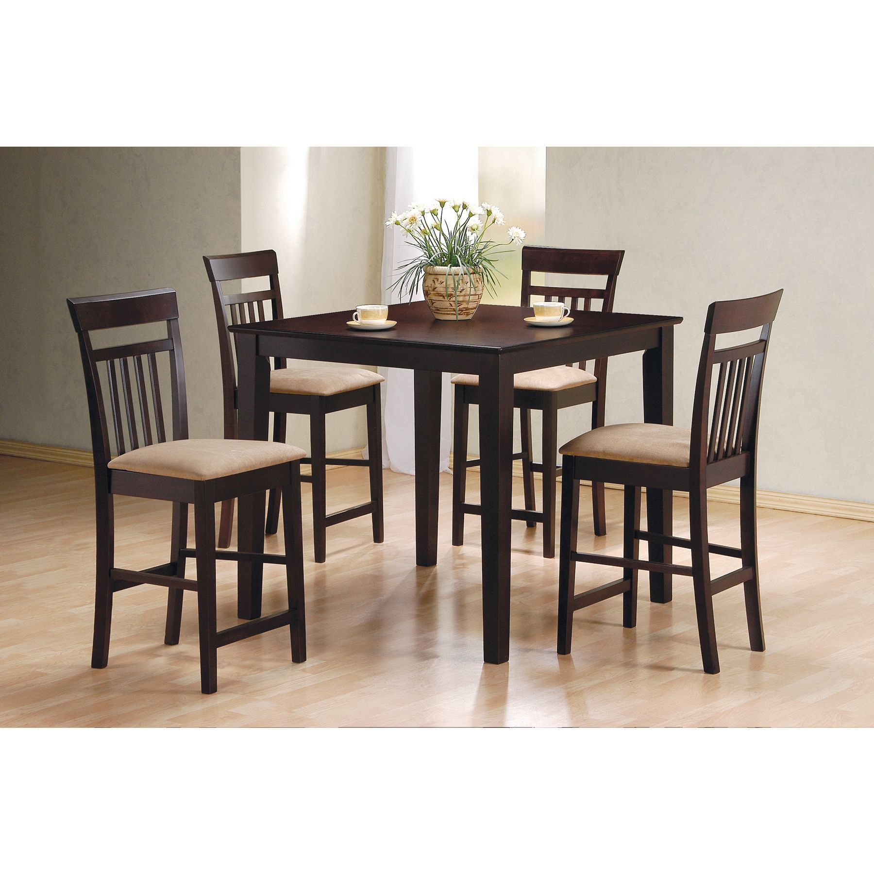 Miskell 5 Piece Dining Sets Pertaining To Famous Coaster Company Cappuccino 5 Piece Dining Set (Cappuccino Counter (#8 of 20)