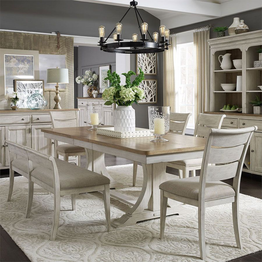Mitzel 3 Piece Dining Sets For Preferred Farmhouse Reimagined Rectangular Dining Set W/ Upholstered Chairs (View 15 of 20)