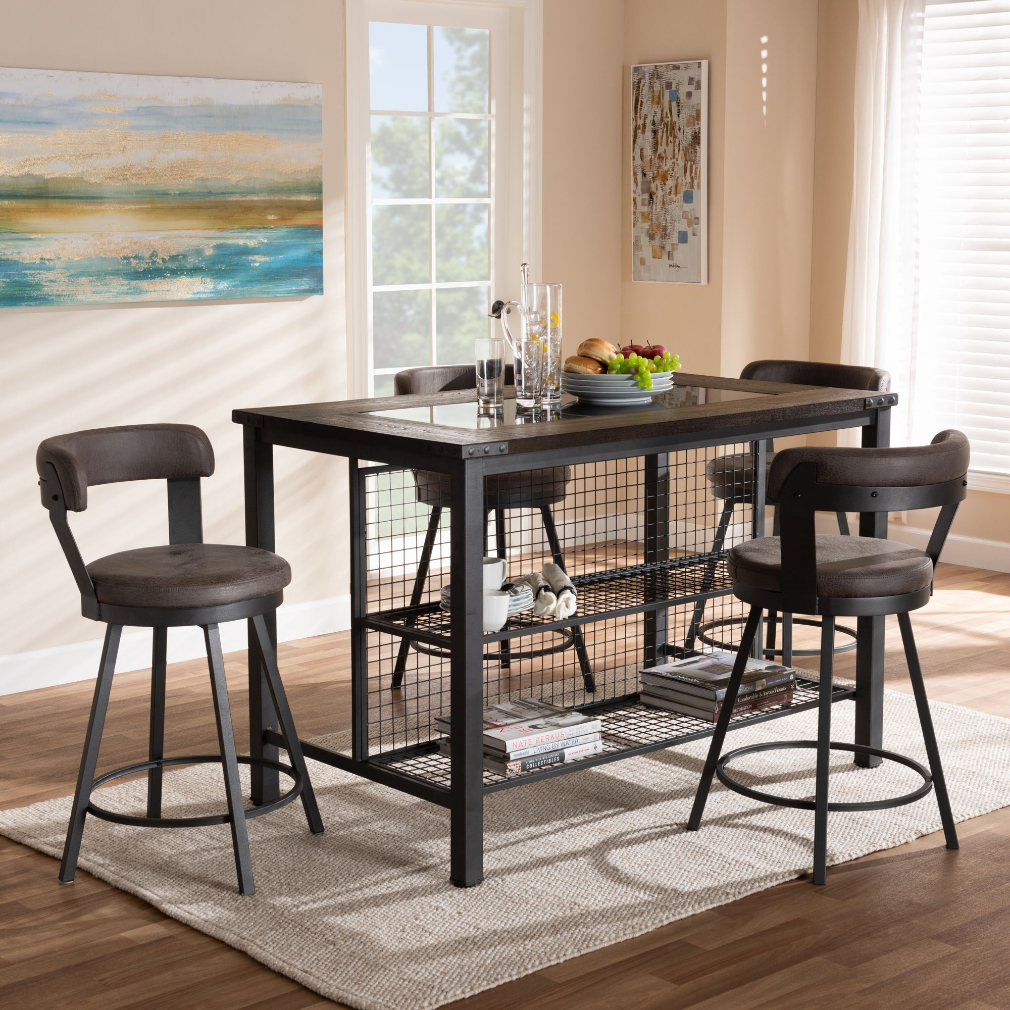 Most Current Baxton Studio Arcene Rustic And Industrial Antique Grey Faux Leather With Wiggs 5 Piece Dining Sets (View 20 of 20)