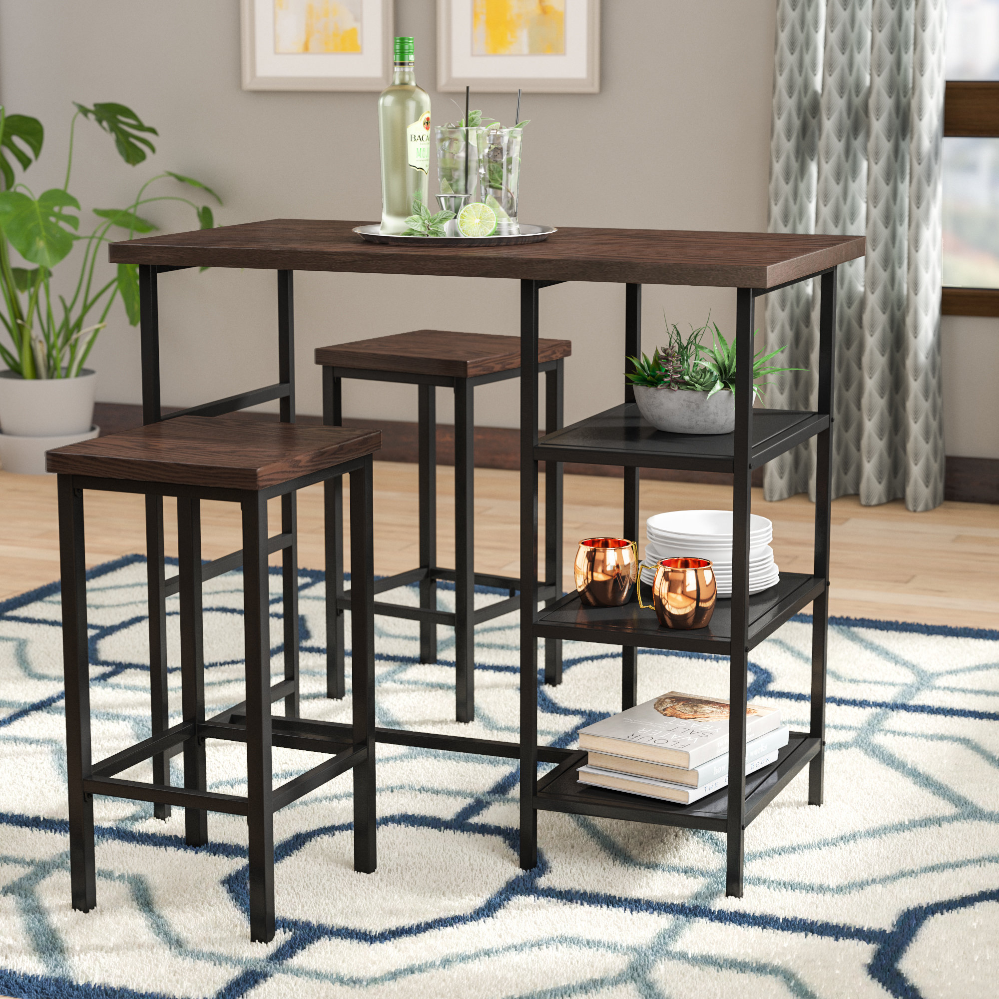 Inspiration about Most Current Berrios 3 Piece Counter Height Dining Sets With Regard To Ivy Bronx Du Bois 3 Piece Pub Table Set & Reviews (#6 of 20)