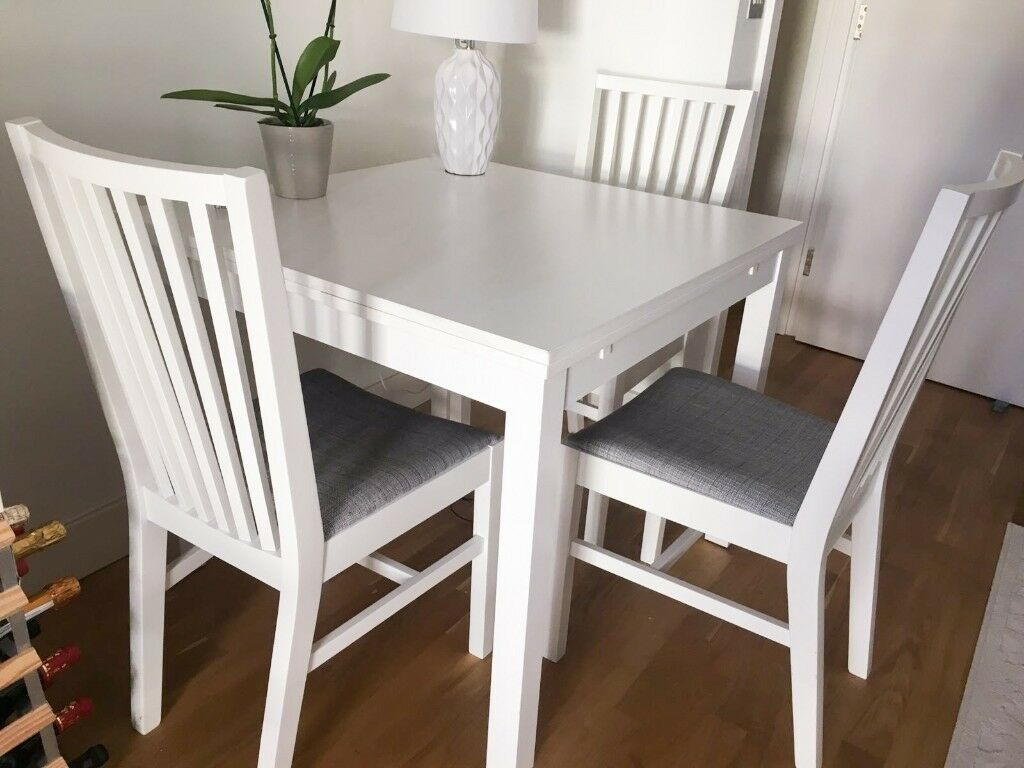 Inspiration about Most Current Ikea Ekedalen Extendable White Table + 3 Dining Chairs – South Within Lonon 3 Piece Dining Sets (#17 of 20)
