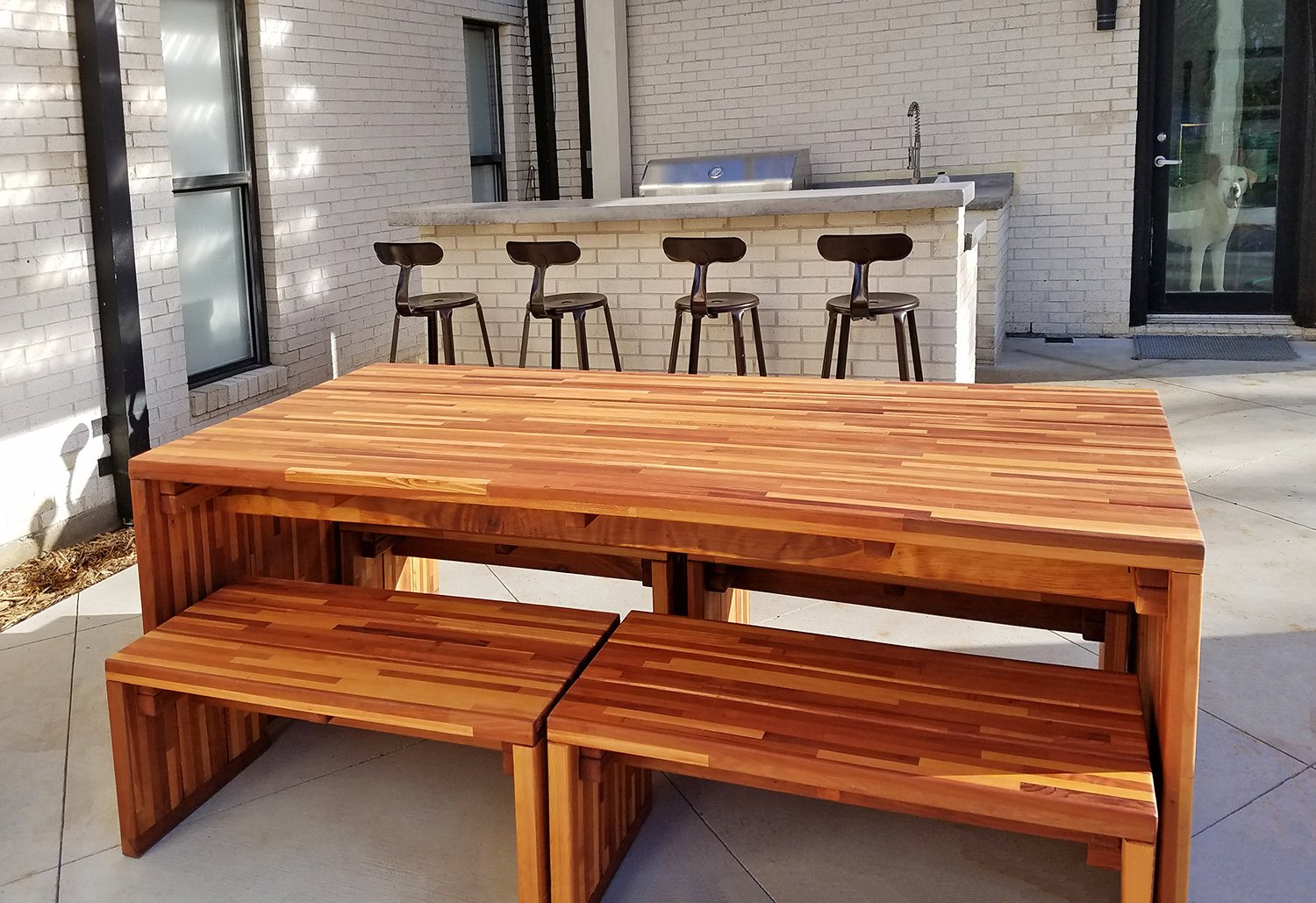 Most Current Maynard Modern Redwood Patio Table (View 19 of 20)
