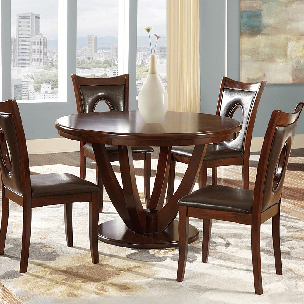 Most Current Miraval Cherry Brown Round Dining Tableinspire Q Classic Throughout Biggs 5 Piece Counter Height Solid Wood Dining Sets (Set Of 5) (#10 of 20)