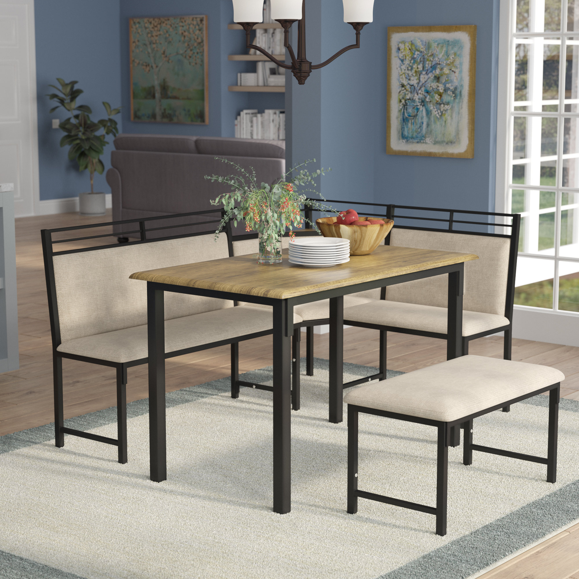 Most Current Red Barrel Studio Moonachie Corner 3 Piece Dining Set & Reviews Intended For Partin 3 Piece Dining Sets (#6 of 20)