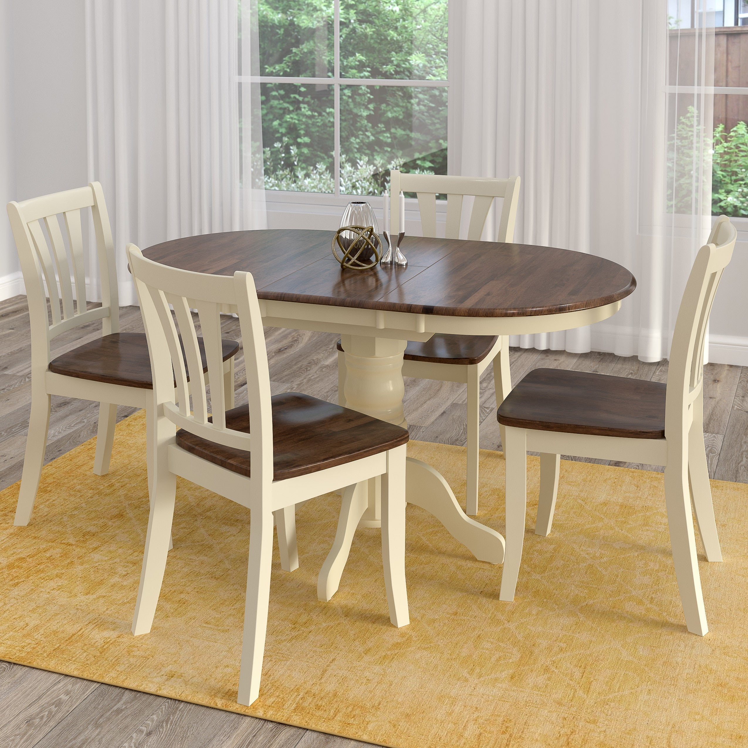 Most Current Shop Copper Grove Korcula Dark Brown And Cream Solid Wood Extendable Within North Reading 5 Piece Dining Table Sets (#9 of 20)