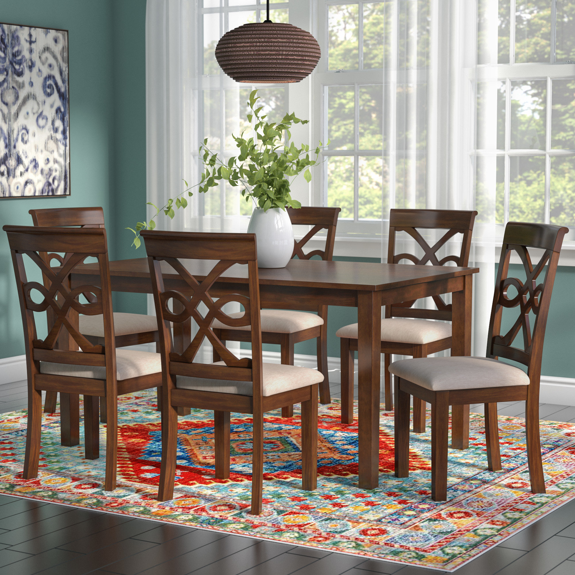 Most Current World Menagerie Duron 7 Piece Dining Set & Reviews (#6 of 20)