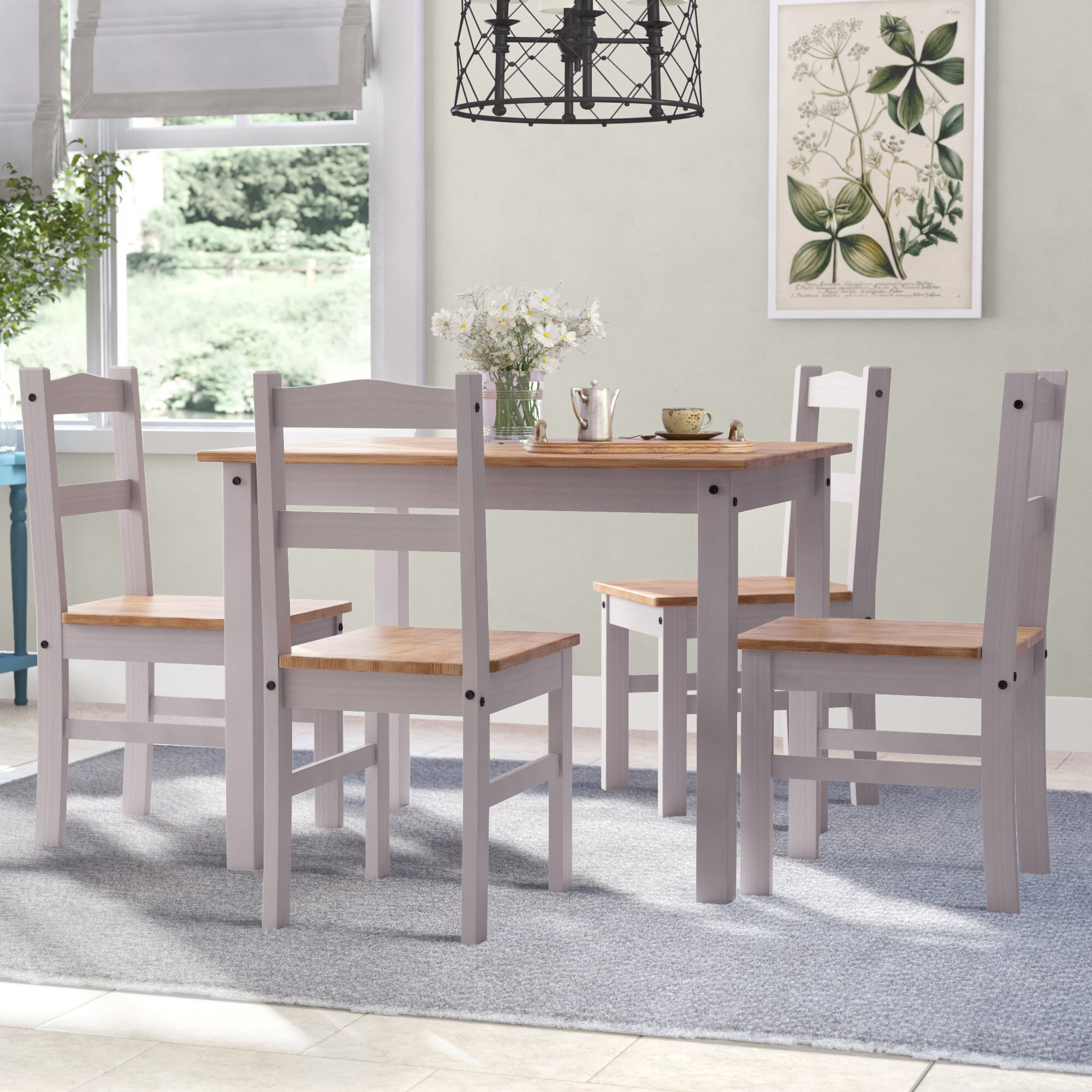 Inspiration about Most Popular Autberry 5 Piece Dining Sets In Gracie Oaks Rodgers 5 Piece Solid Wood Dining Set (#19 of 20)