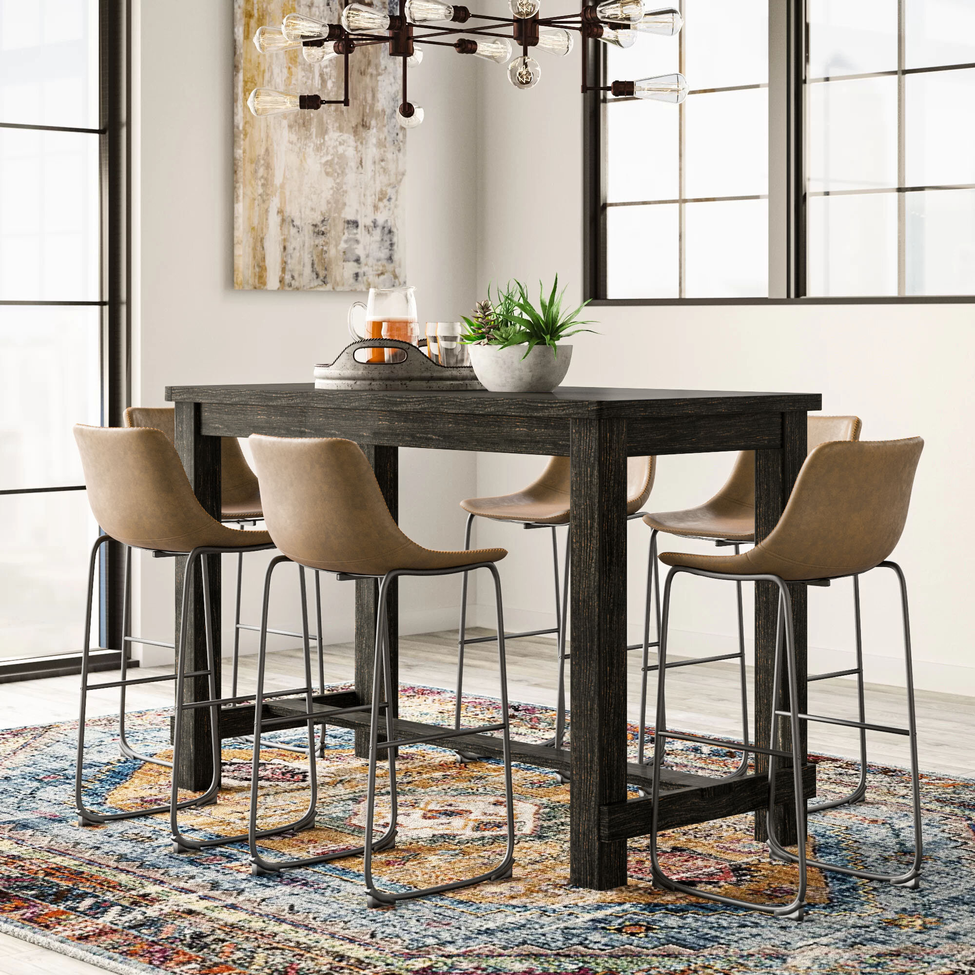 Inspiration about Most Popular Biggs 5 Piece Counter Height Solid Wood Dining Sets (set Of 5) Intended For Bamey 7 Piece Pub Table Set (#7 of 20)