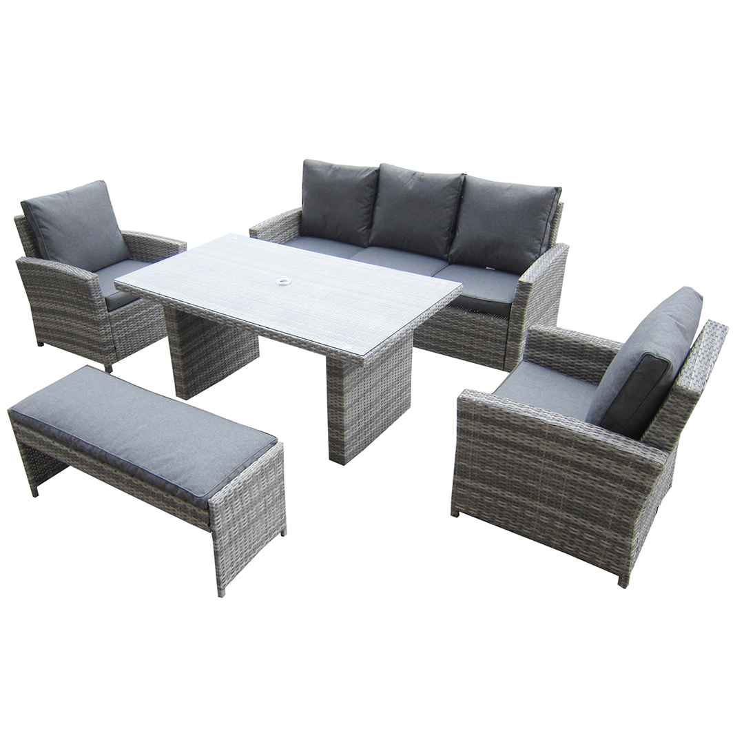 Most Popular Kensington Malmo 5pc Sofa Set – 2 Armchairs, 3 Seat Sofa, Dining For Chelmsford 3 Piece Dining Sets (View 16 of 20)
