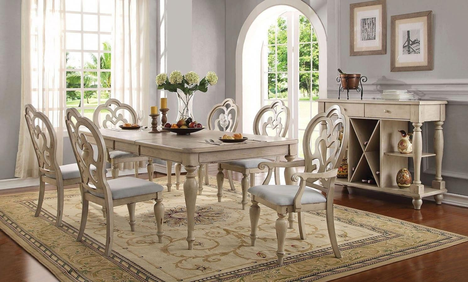 Most Popular Mitzel 3 Piece Dining Sets Pertaining To Abelin Dining Room Set #whitediningchairs (View 17 of 20)