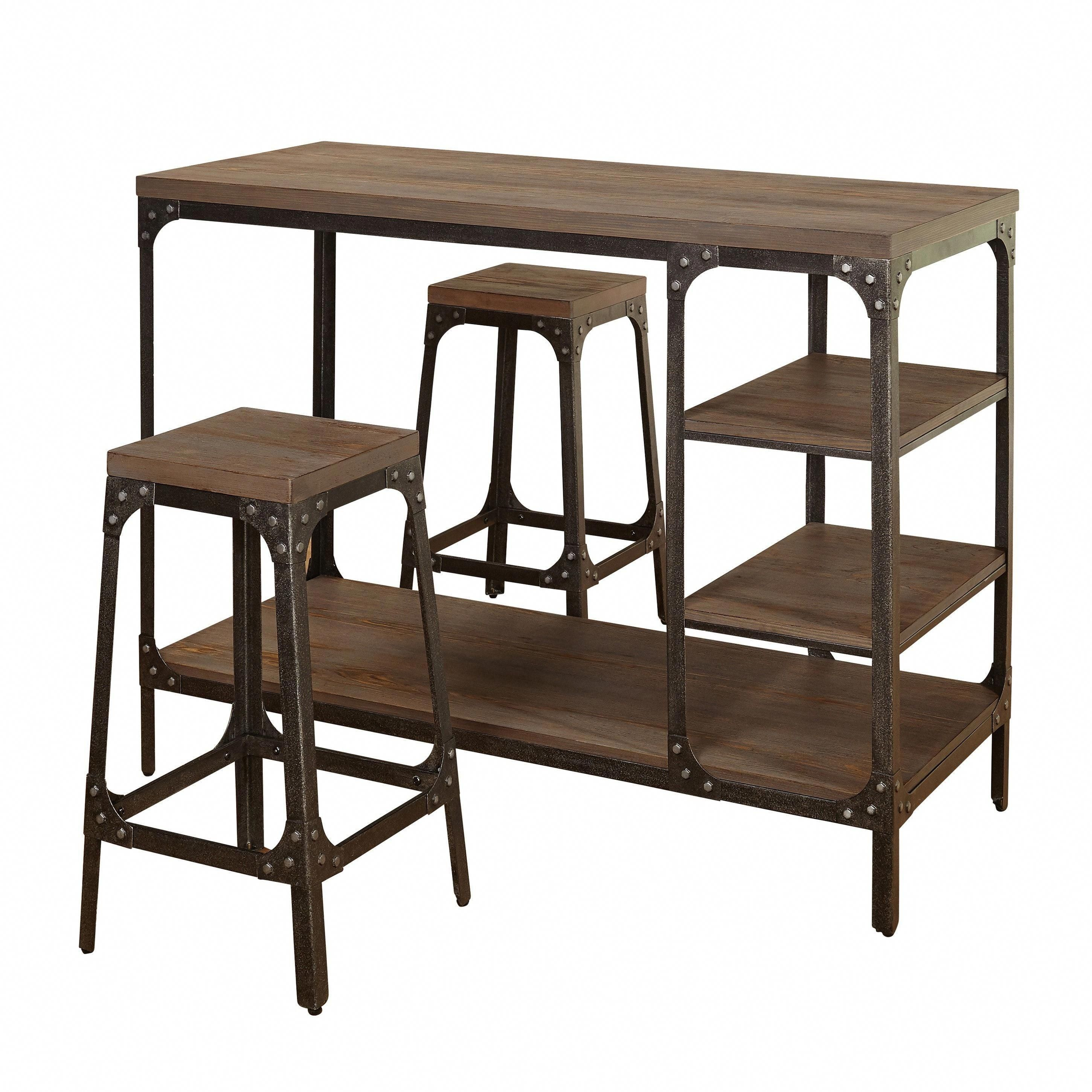 Most Popular Simple Living Scholar Vintage Industrial 3 Piece Counter Height Intended For Kerley 4 Piece Dining Sets (#15 of 20)