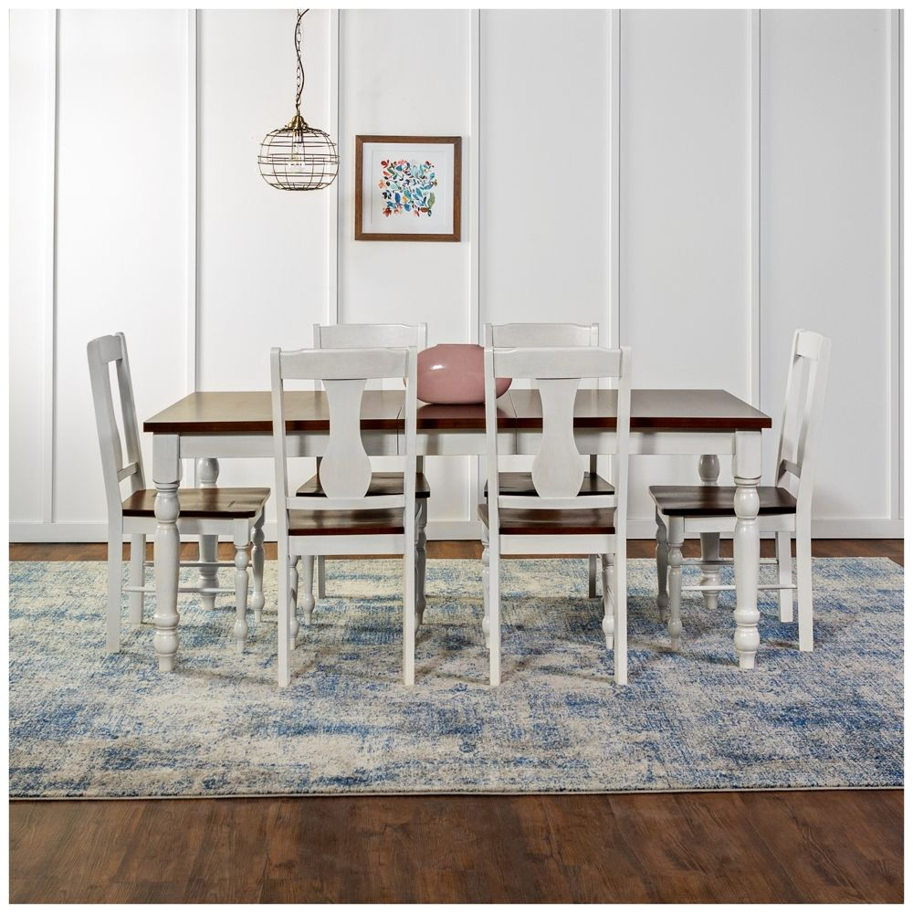 Inspiration about Most Popular Tavarez 5 Piece Dining Sets For Huntsman Brown And White 7 Piece Dining Table And Chair Set – Style (#15 of 20)