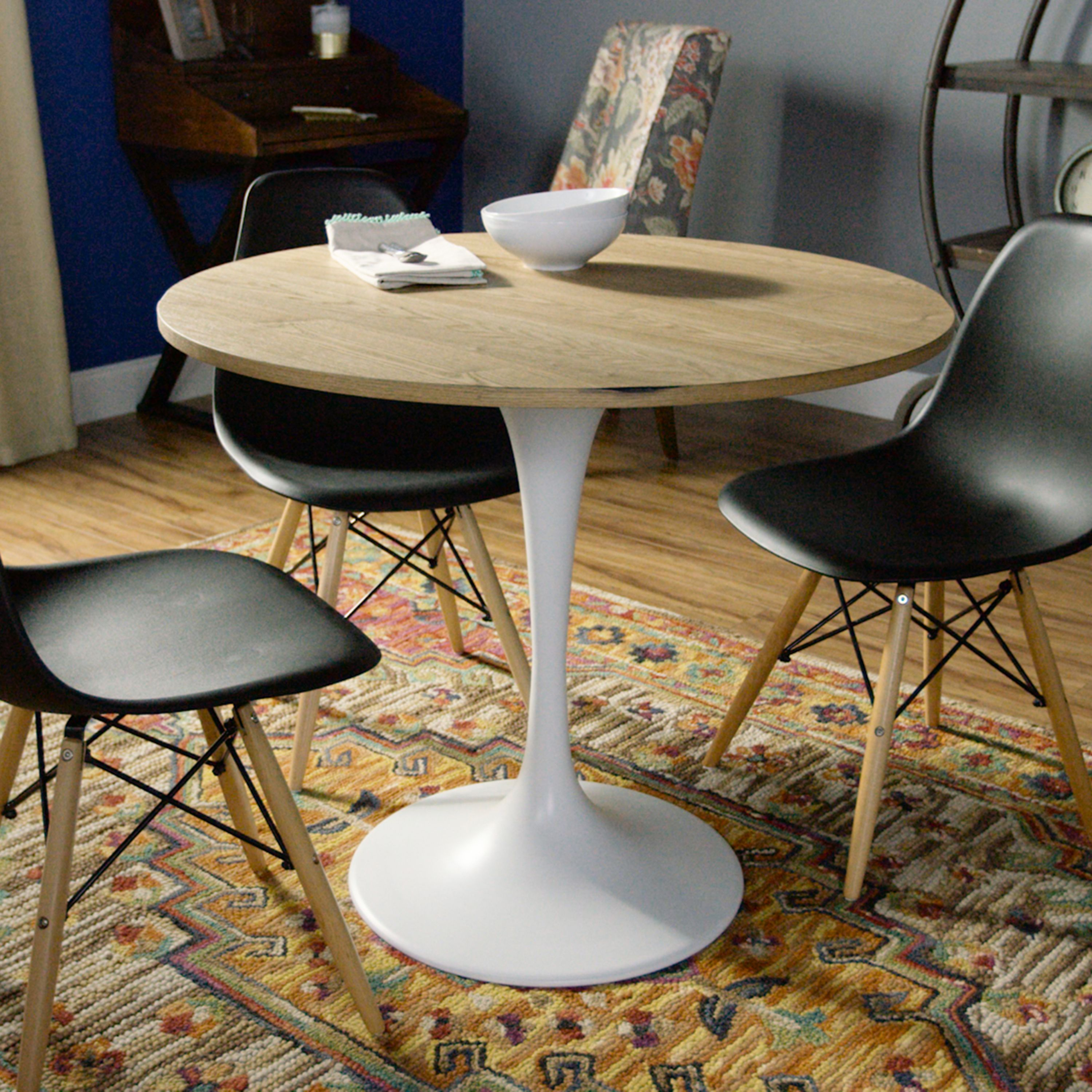 Most Popular Wood And White Metal Leilani Tulip Dining Table – Smallworld Intended For Debby Small Space 3 Piece Dining Sets (#10 of 20)