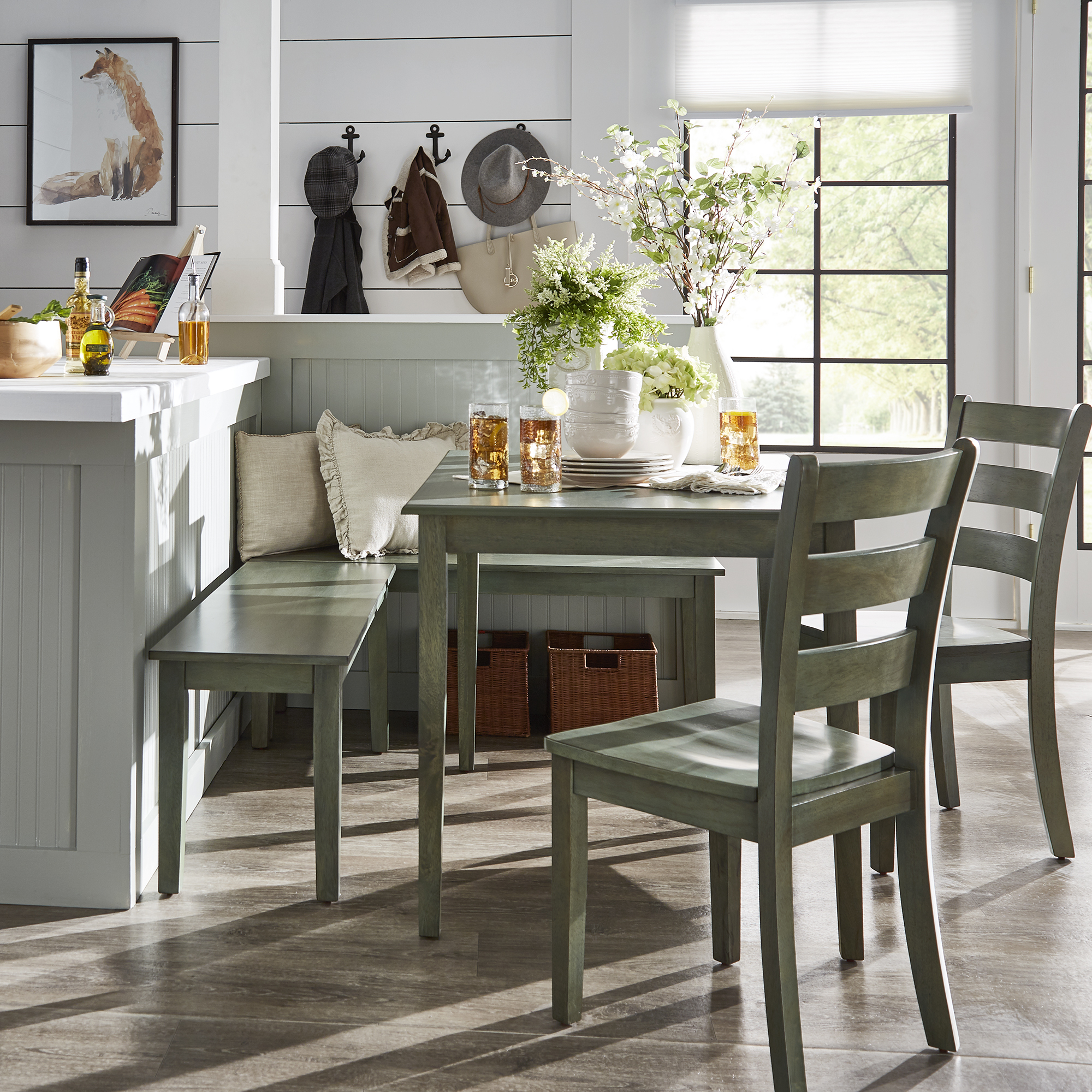 Most Recent 5 Piece Breakfast Nook Dining Sets With Weston Home Lexington 5 Piece Breakfast Nook Dining Set, Rectangular (#10 of 20)