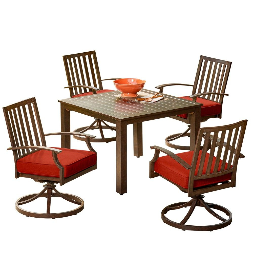 Inspiration about Most Recent 5Pc Bridgeport Swivel Dining Set Red – Royal Garden (#12 of 20)