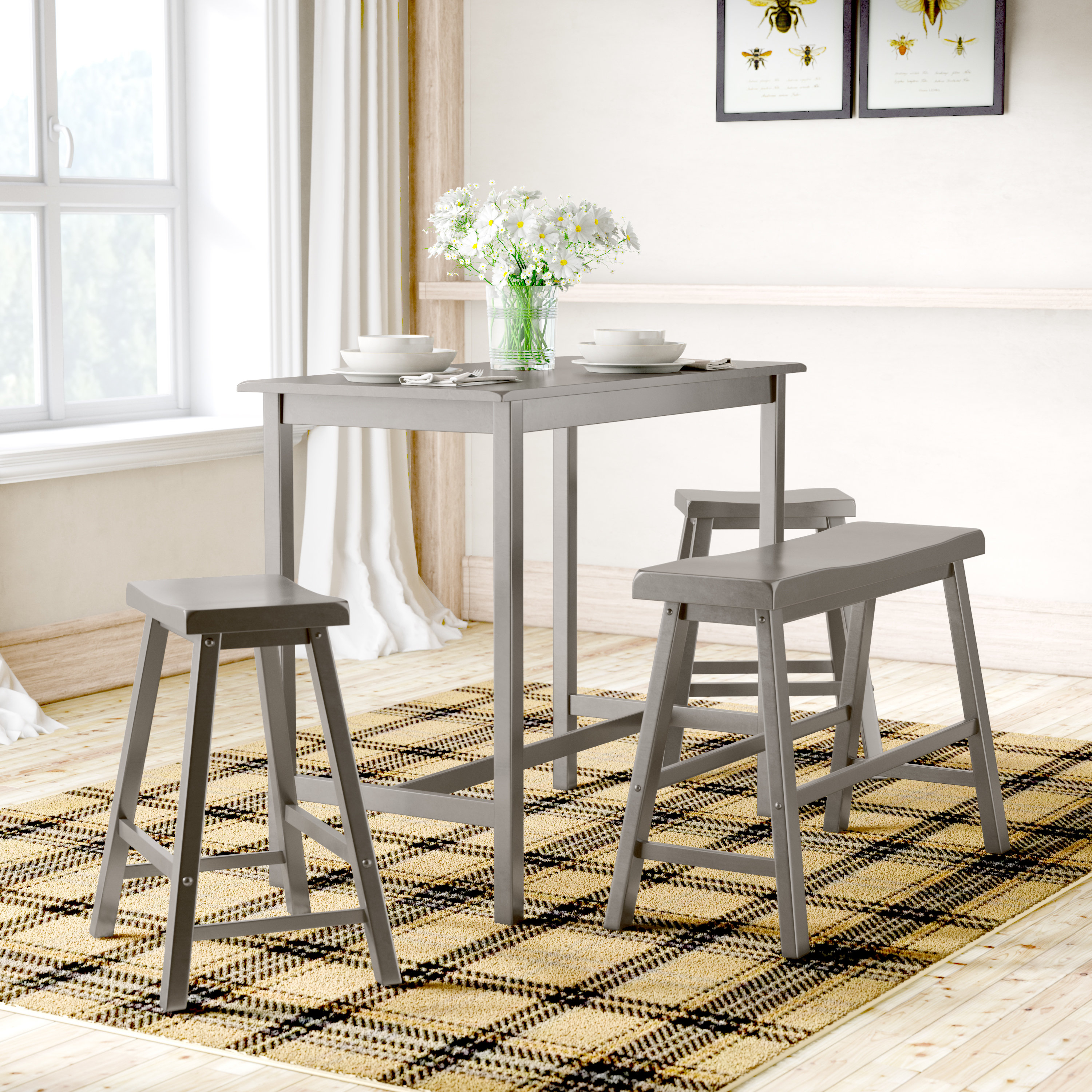 Most Recent Berrios 3 Piece Counter Height Dining Sets Intended For Mistana Cormac 4 Piece Pub Table Set & Reviews (#12 of 20)