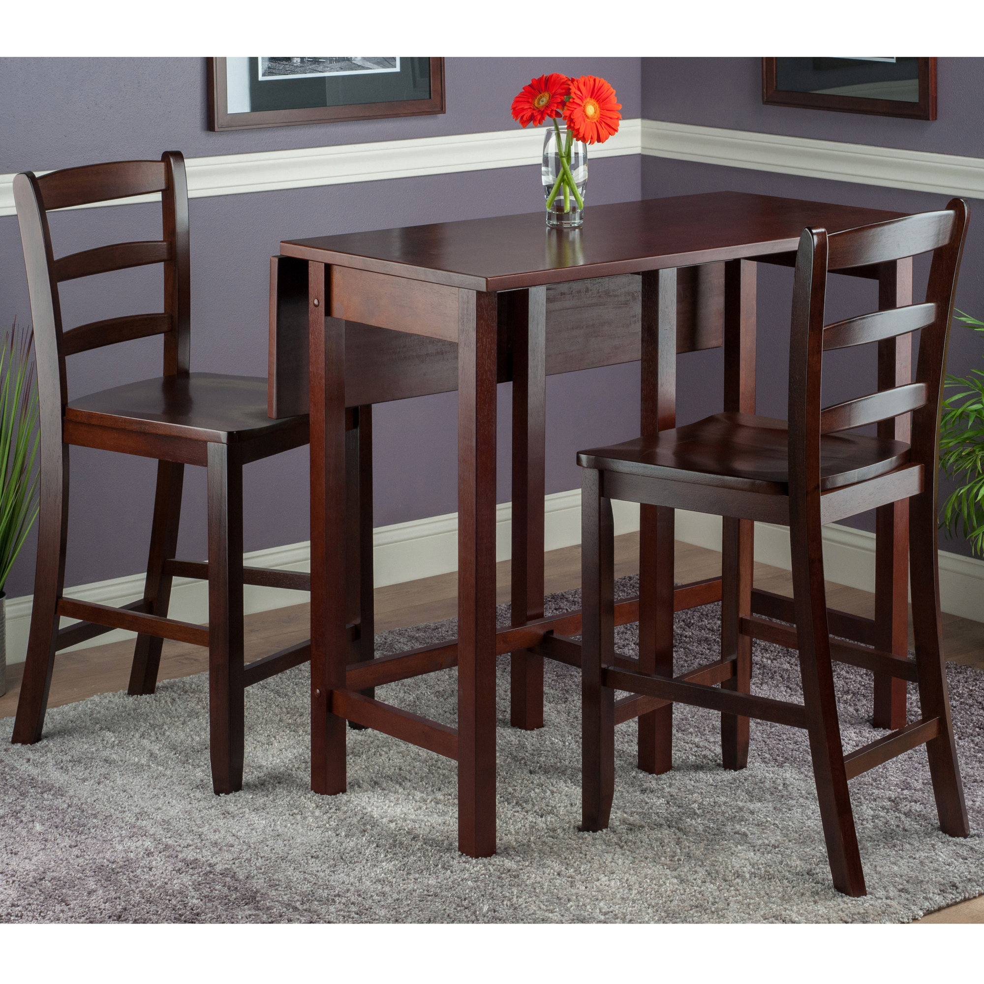 Most Recent Bettencourt 3 Piece Counter Height Solid Wood Dining Sets With Regard To Red Barrel Studio Bettencourt 3 Piece Drop Leaf Dining Set (#13 of 20)