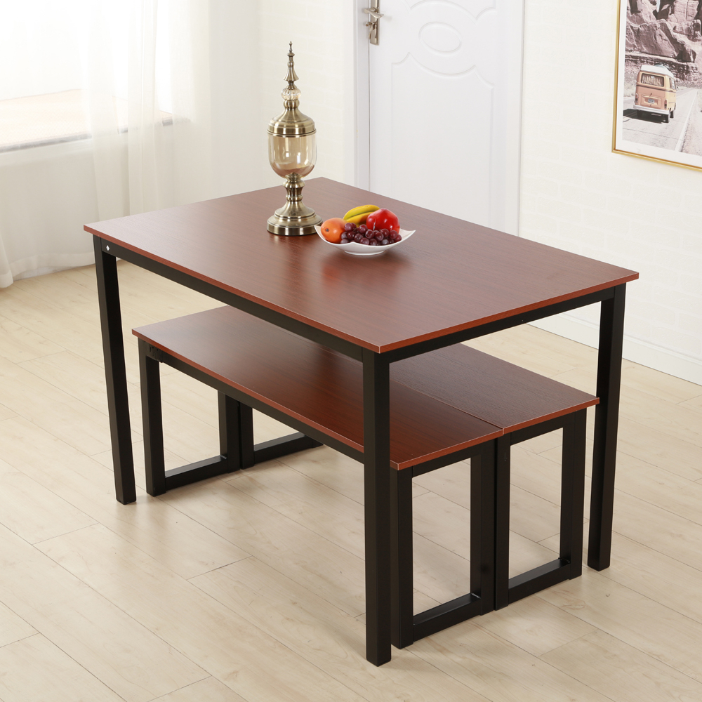 Most Recent Brown Dining Table Set 3 Piece Benches Breakfast Nook Steel Frame Pertaining To Lillard 3 Piece Breakfast Nook Dining Sets (View 4 of 20)
