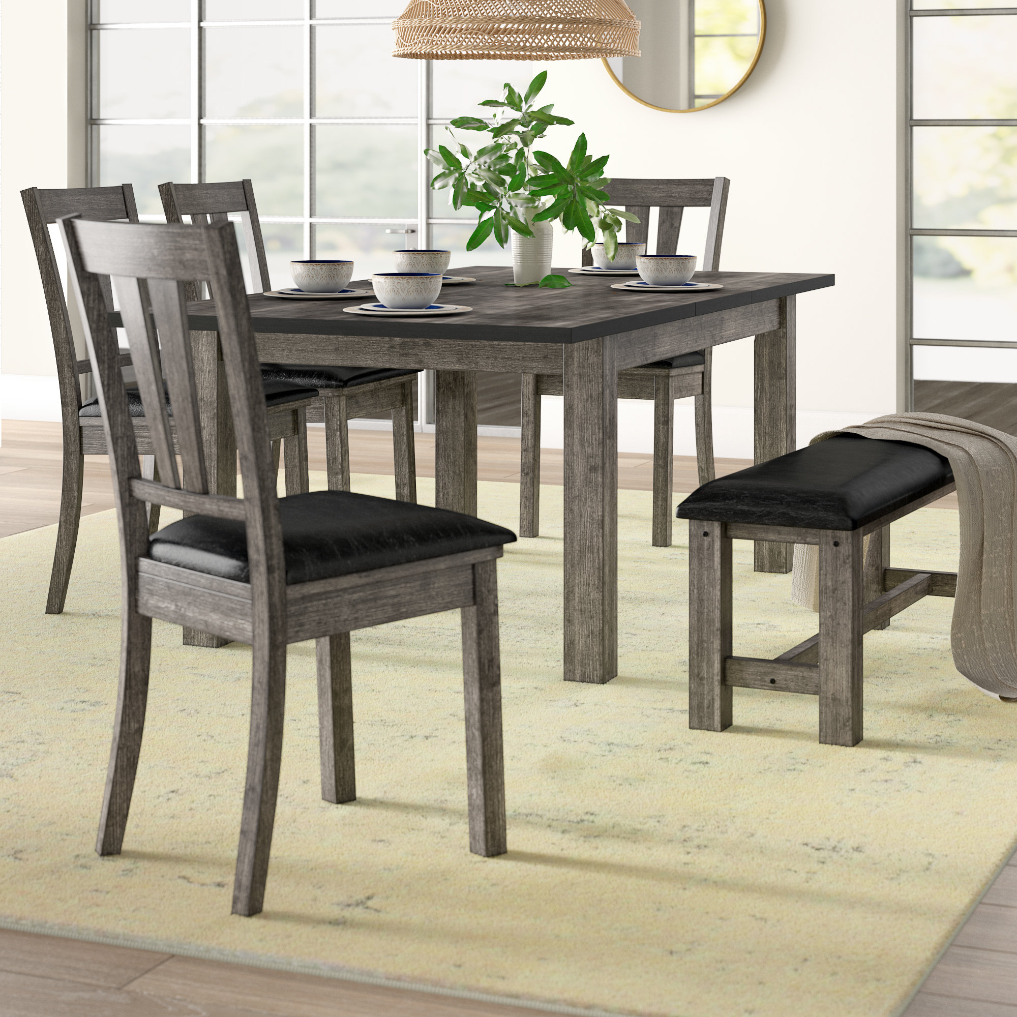 Most Recent Chelmsford 3 Piece Dining Sets With Regard To Mistana Katarina 6 Piece Extendable Solid Wood Dining Set & Reviews (View 9 of 20)