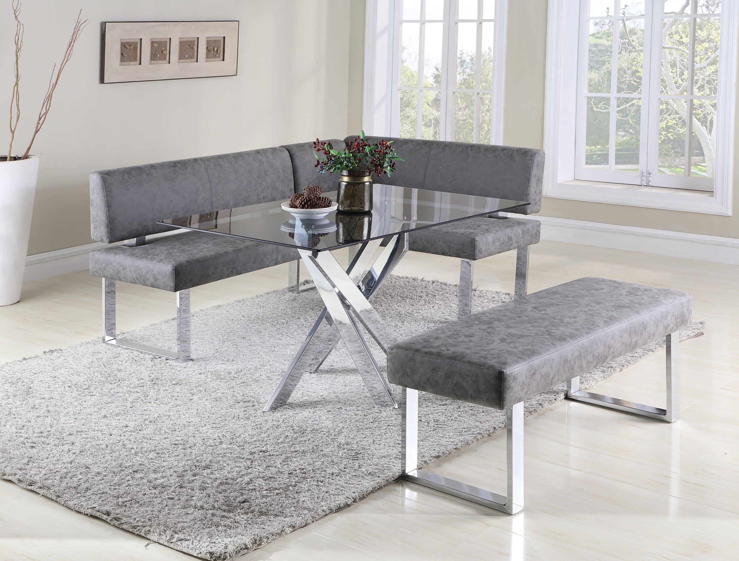 Most Recent Chintaly Imports Genevieve Clear Glass Criss Cross 3 Piece Breakfast With Regard To 3 Piece Breakfast Nook Dinning Set (View 18 of 20)