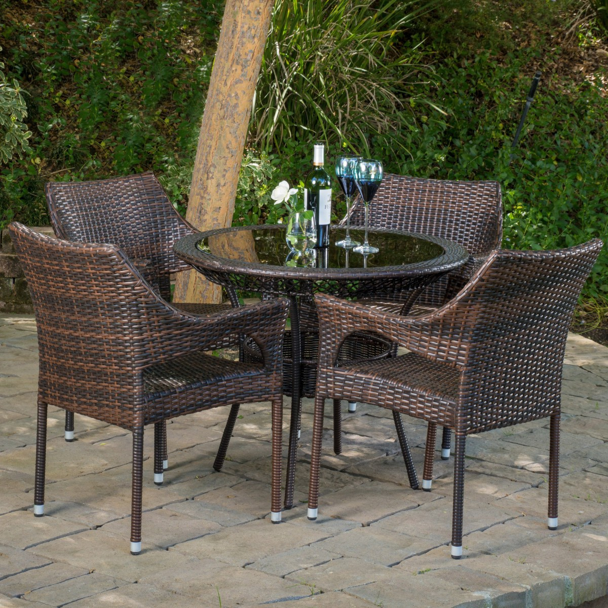 Most Recent Del Mar Wicker 5 Piece Outdoor Dining Set With 34quot Round With Delmar 5 Piece Dining Sets (View 14 of 20)