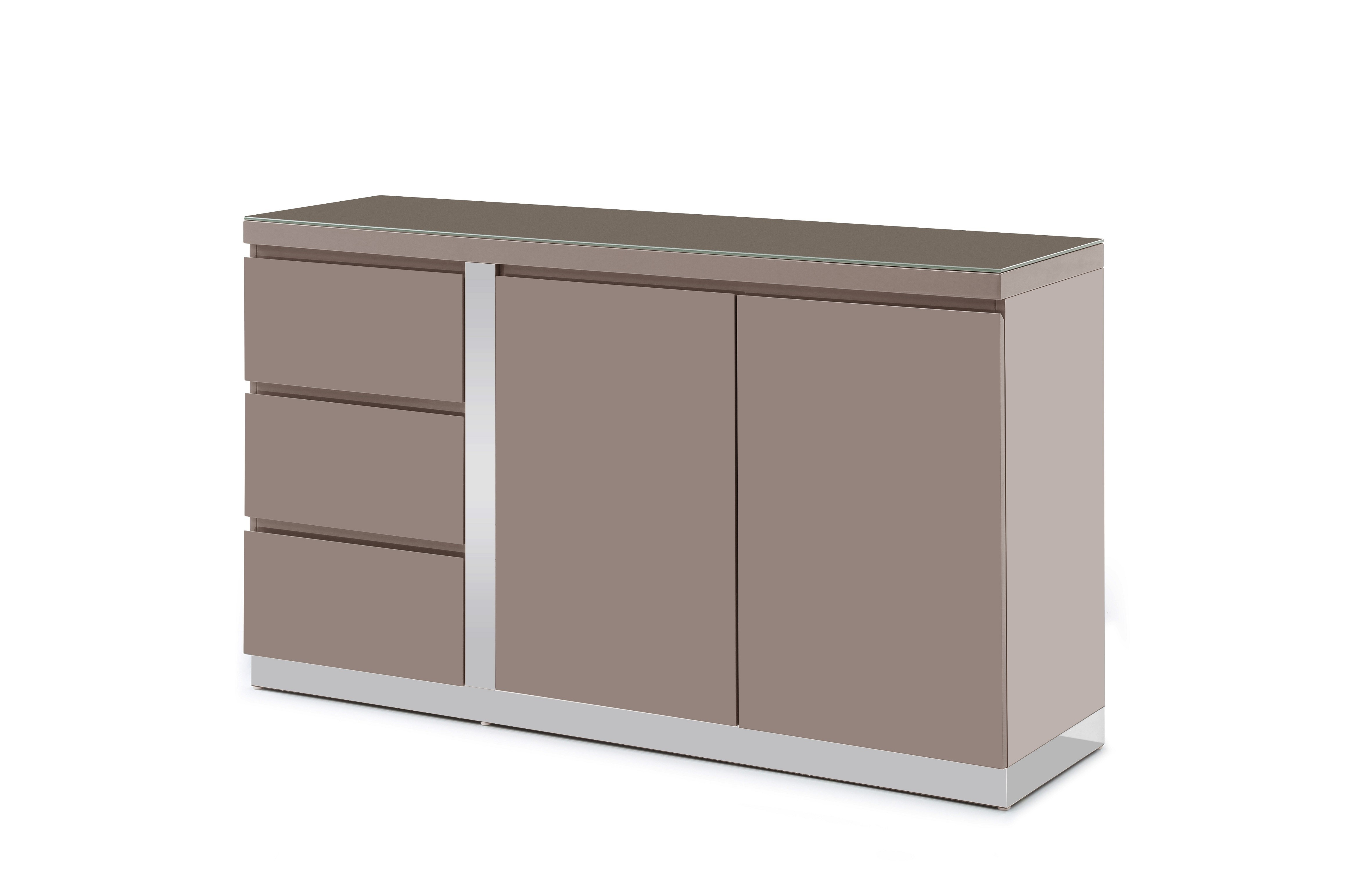 Most Recent Jarrod 5 Piece Dining Sets With Regard To Jerry Taupe High Gloss Sideboard 140Cm (#13 of 20)
