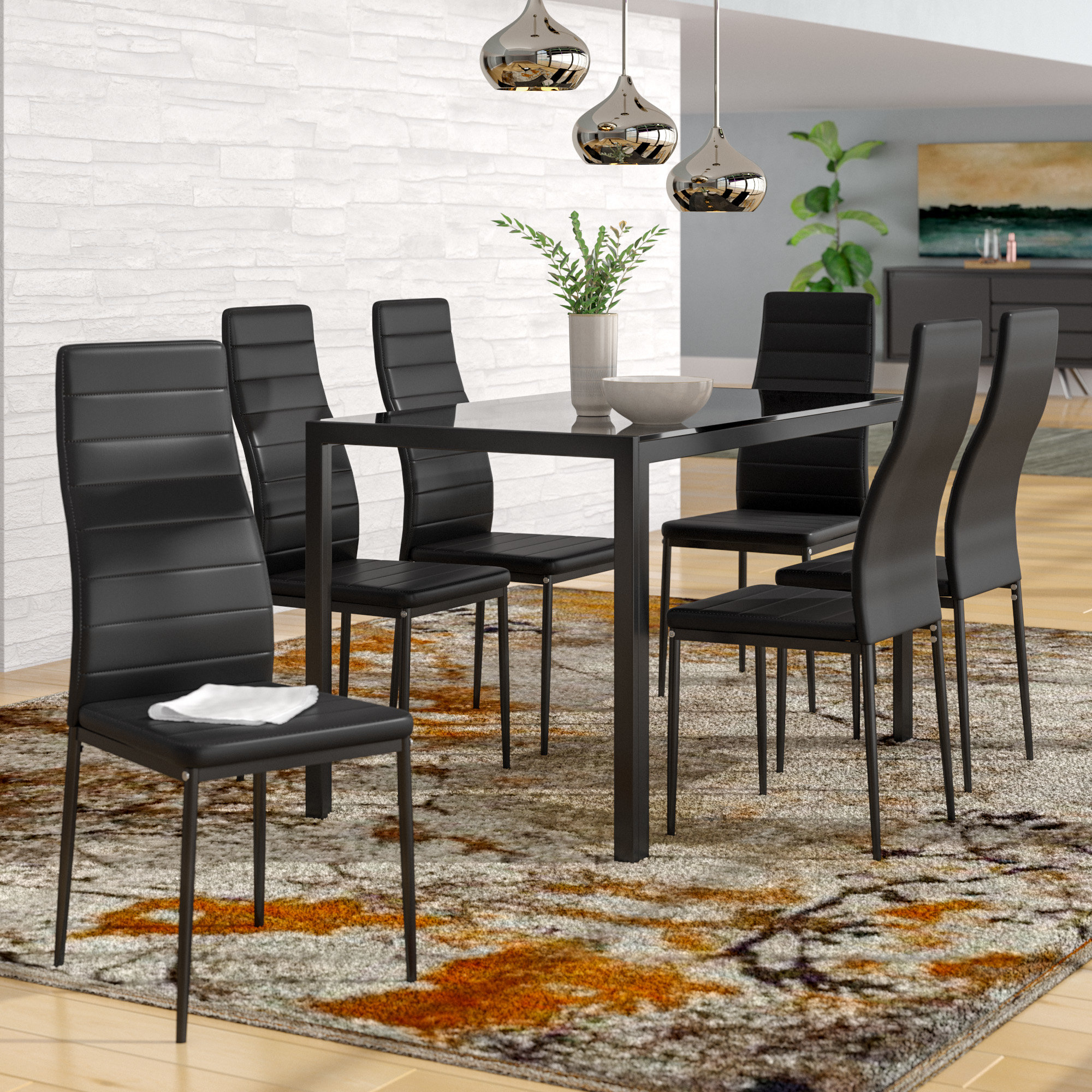 Most Recent Orren Ellis Renick Modern 7 Piece Dining Set & Reviews (View 8 of 20)