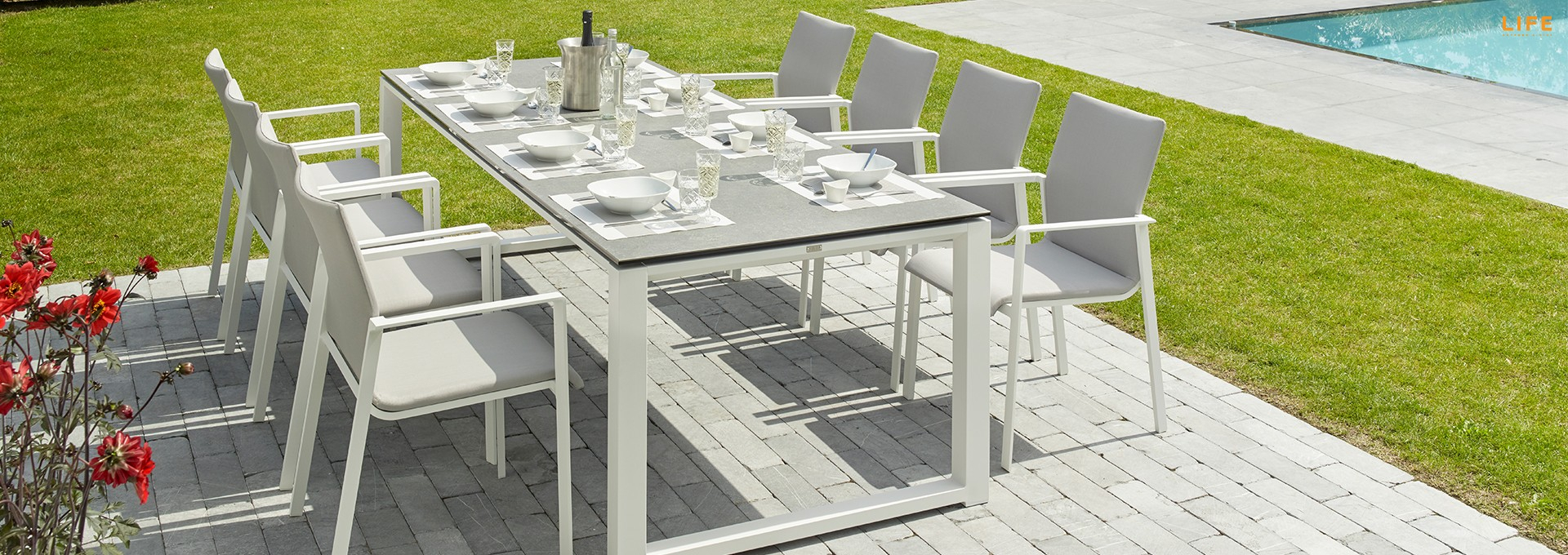 Inspiration about Most Recent Osterman 6 Piece Extendable Dining Sets (Set Of 6) Throughout Primavera Dining White – Life Outdoor Living (#8 of 20)