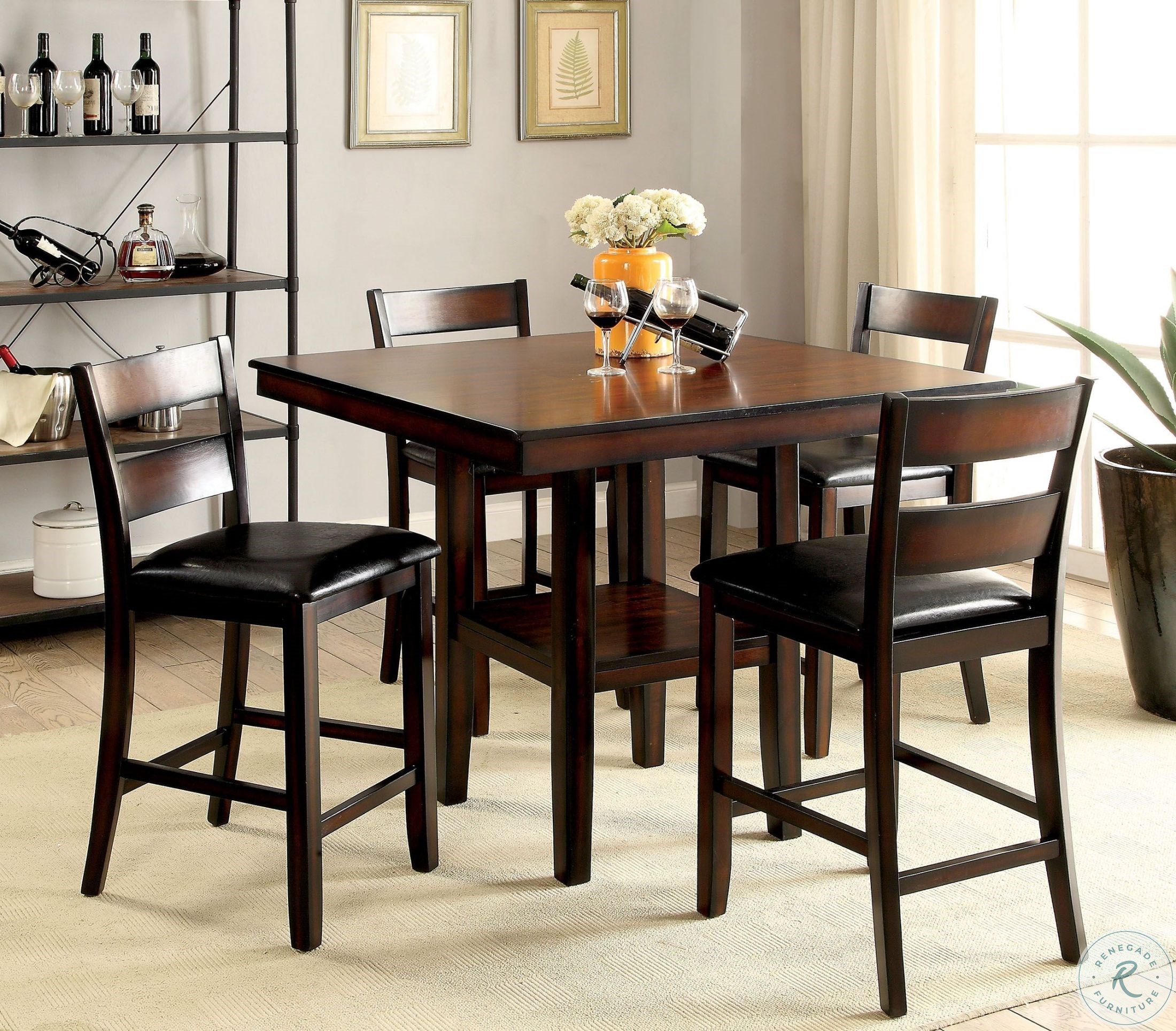 Most Recent Penelope 3 Piece Counter Height Wood Dining Sets Throughout Norah Ii Brown Cherry 5 Piece Counter Height Dining Set From (#9 of 20)