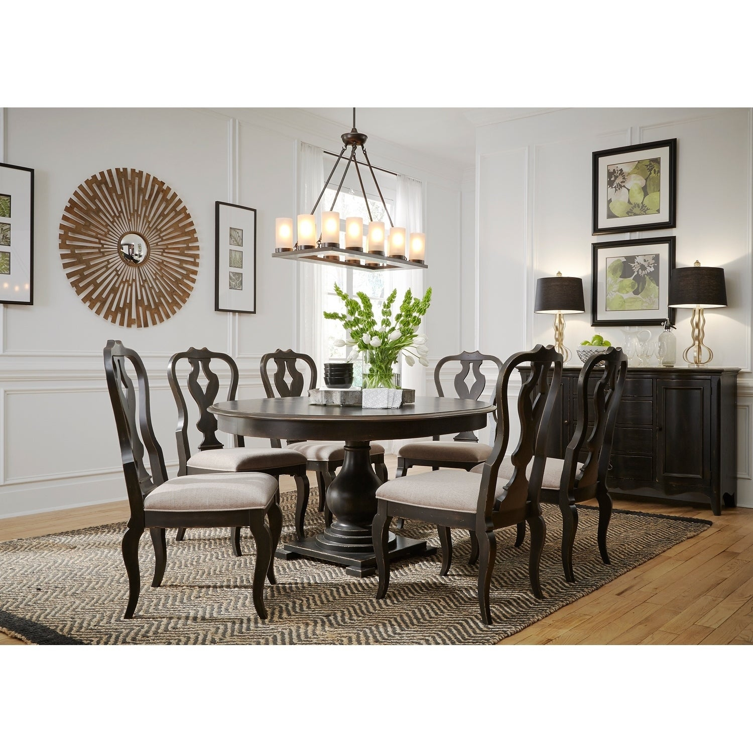 Inspiration about Most Recent Shop Chesapeake Wire Brushed Antique Black 7 Piece Pedestal Table For Tejeda 5 Piece Dining Sets (#17 of 20)