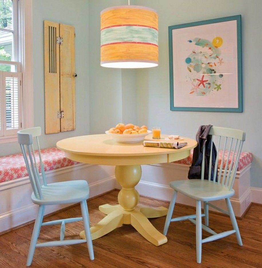 Inspiration about Most Recent Small Yet Comfy Dining Room With Yellow Round Dining Table Corner With Kaelin 5 Piece Dining Sets (#10 of 20)