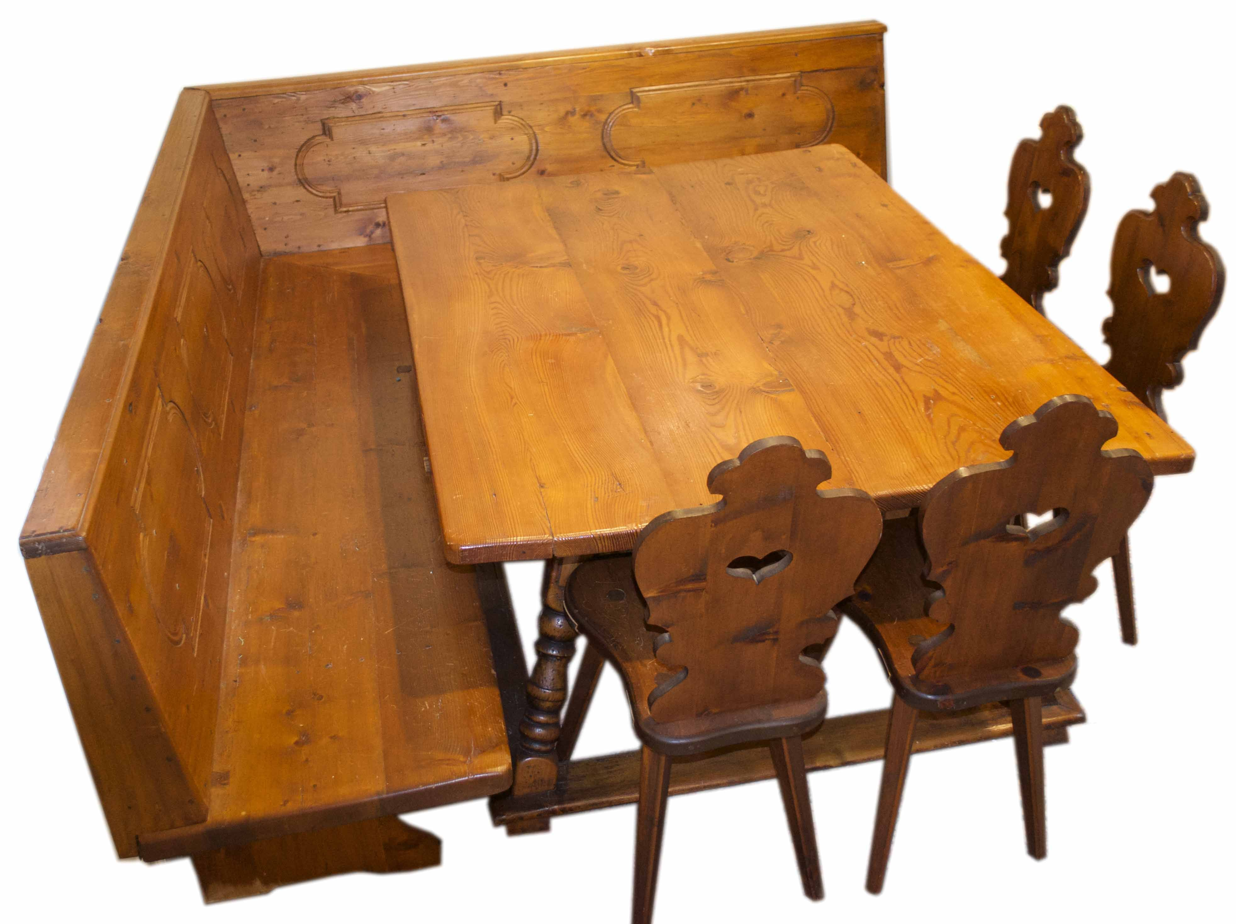 Most Recent Vintage German Table, Bench And 4 Bavarian Chairs (#11 of 20)