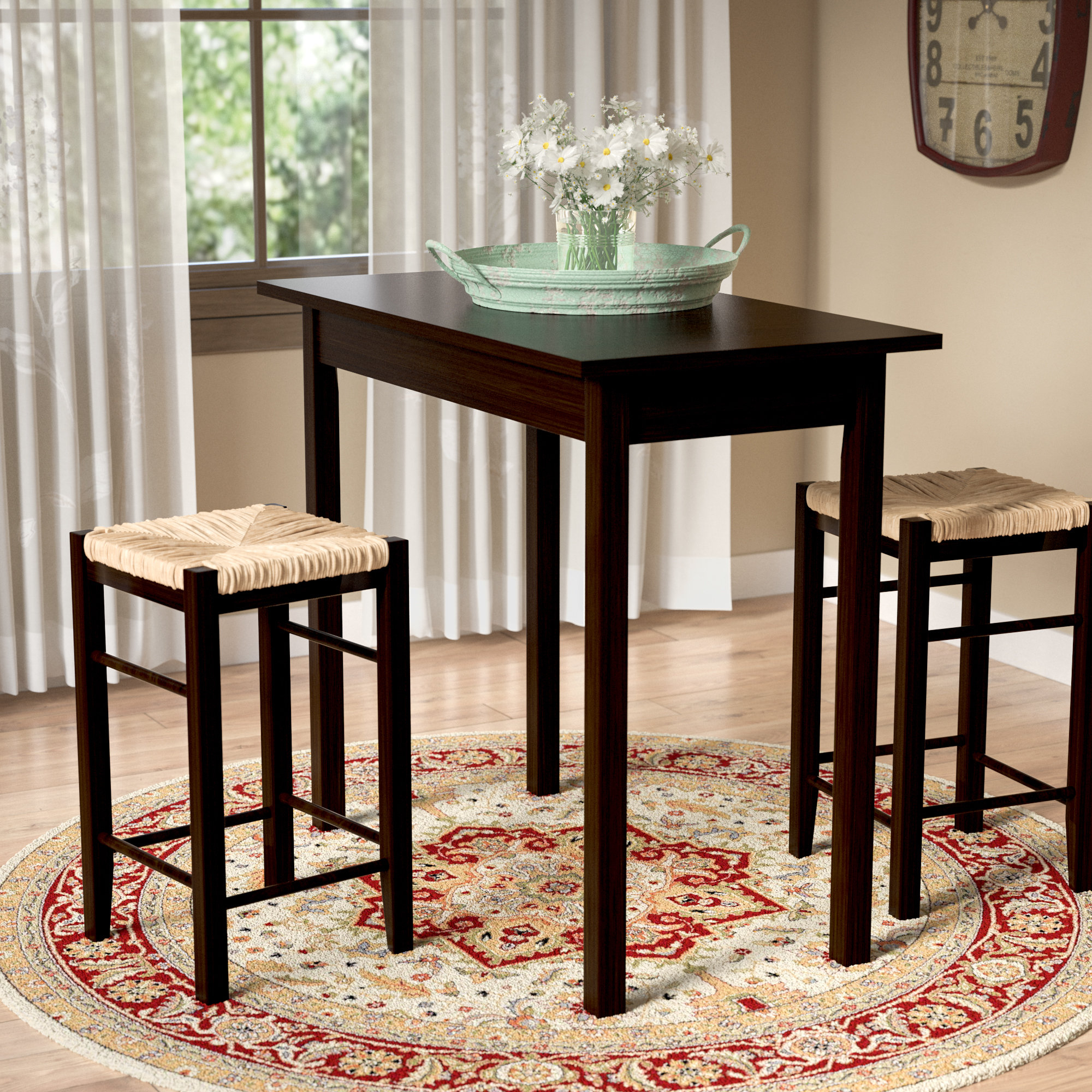 Inspiration about Most Recently Released August Grove Tenney 3 Piece Counter Height Dining Set & Reviews Throughout Winsted 4 Piece Counter Height Dining Sets (#8 of 20)