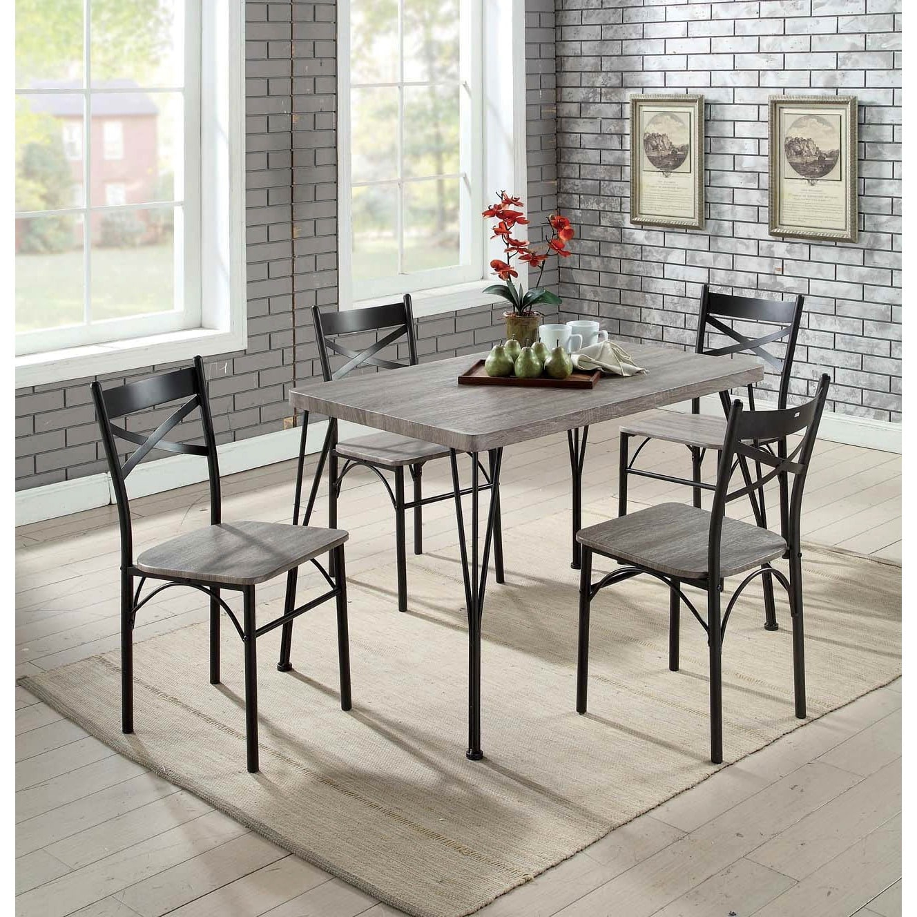 Most Recently Released Bearden 3 Piece Dining Sets Inside Furniture Of America Hathway Industrial 5 Piece Dark Bronze Small (#11 of 20)