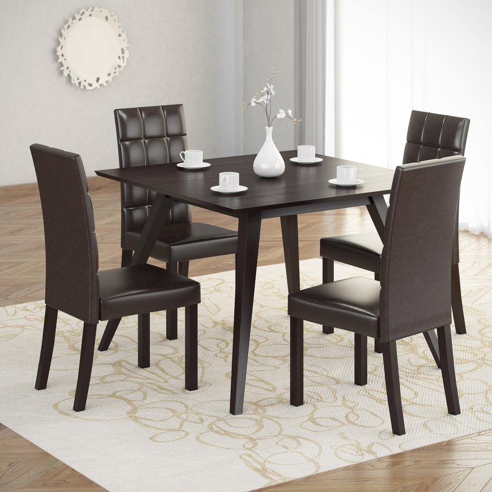 Inspiration about Most Recently Released Biggs 5 Piece Counter Height Solid Wood Dining Sets (Set Of 5) Intended For Corliving Atwood 5 Piece Dining Set With Dark Brown Leatherette (#12 of 20)