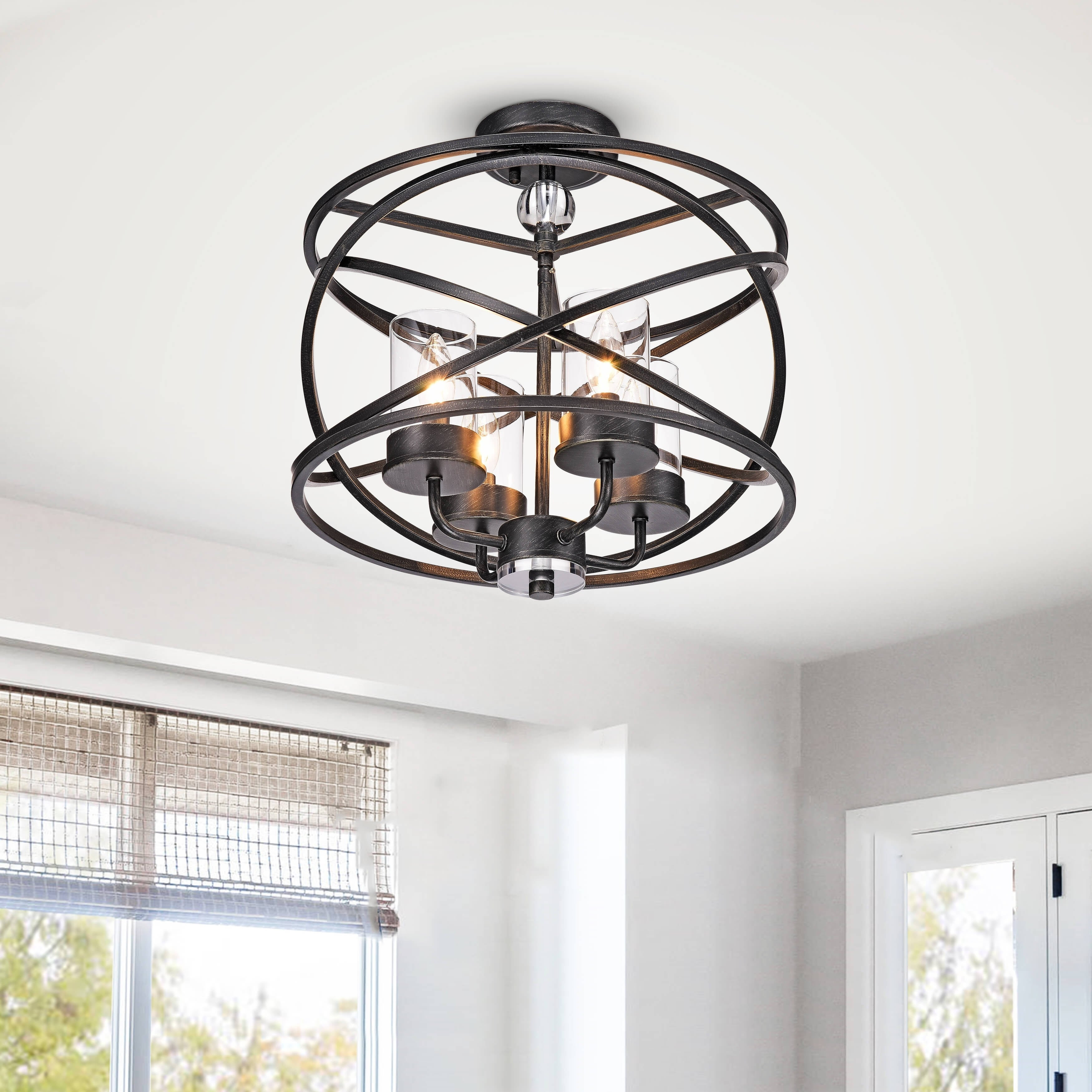Inspiration about Most Recently Released Shop Honoria Antique Black 4 Light Iron And Glass Pendant Chandelier For Honoria 3 Piece Dining Sets (#20 of 20)