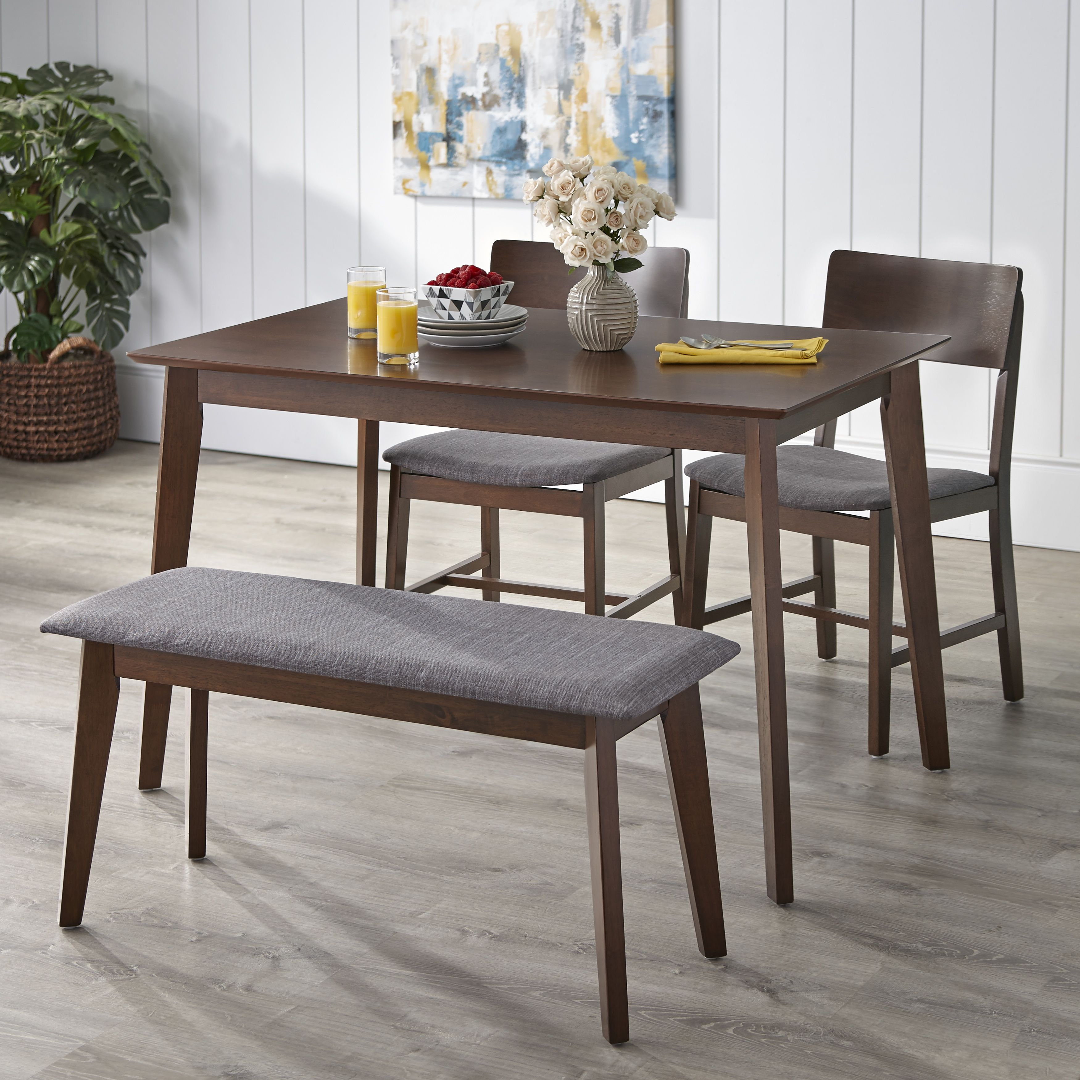Most Recently Released Tms Tiara 4 Piece Dining Set With Bench, Multiple Colors#piece Throughout Rossiter 3 Piece Dining Sets (#7 of 20)