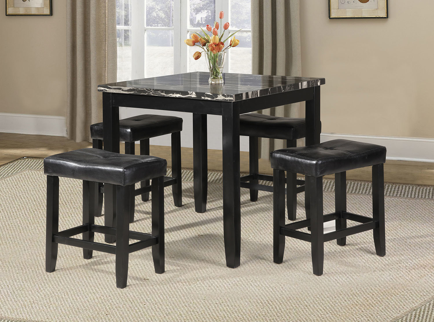 Most Recently Released Winston Porter Rayle 5 Piece Counter Height Dining Set & Reviews With Regard To Denzel 5 Piece Counter Height Breakfast Nook Dining Sets (#9 of 20)