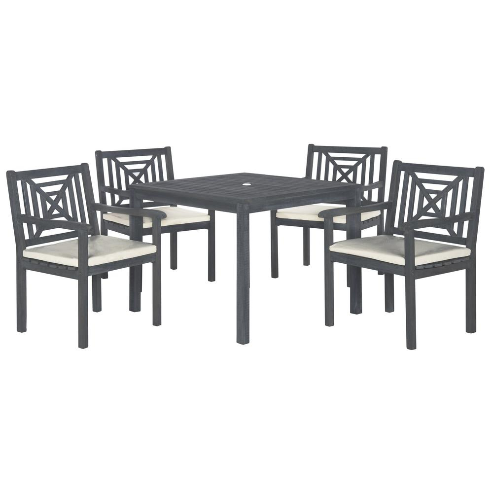 Most Up To Date Delmar 5 Piece Dining Sets Pertaining To Safavieh Del Mar Ash Gray 5 Piece Patio Dining Set With Beige (View 2 of 20)