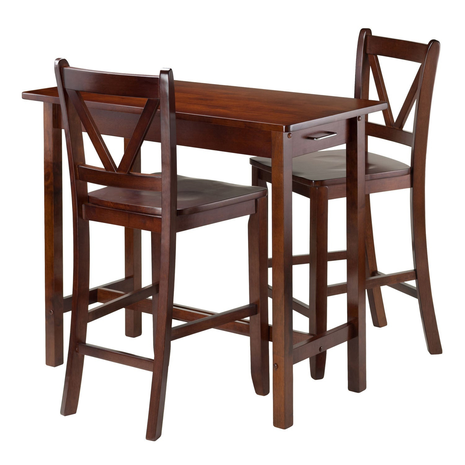 Most Up To Date Shop Winsome 3 Piece Island Kitchen Table With 2 V Back Counter Inside Winsome 3 Piece Counter Height Dining Sets (View 9 of 20)