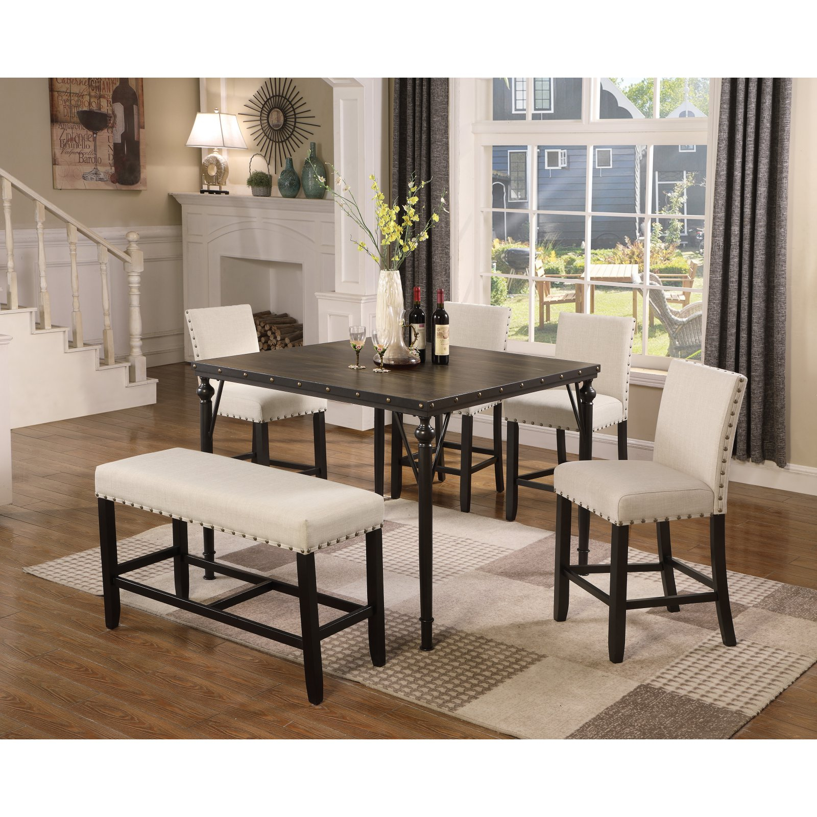 Inspiration about Mukai 5 Piece Dining Sets Inside Famous Roundhill Furniture Biony 6 Piece Square Counter Height Dining Table (#15 of 20)
