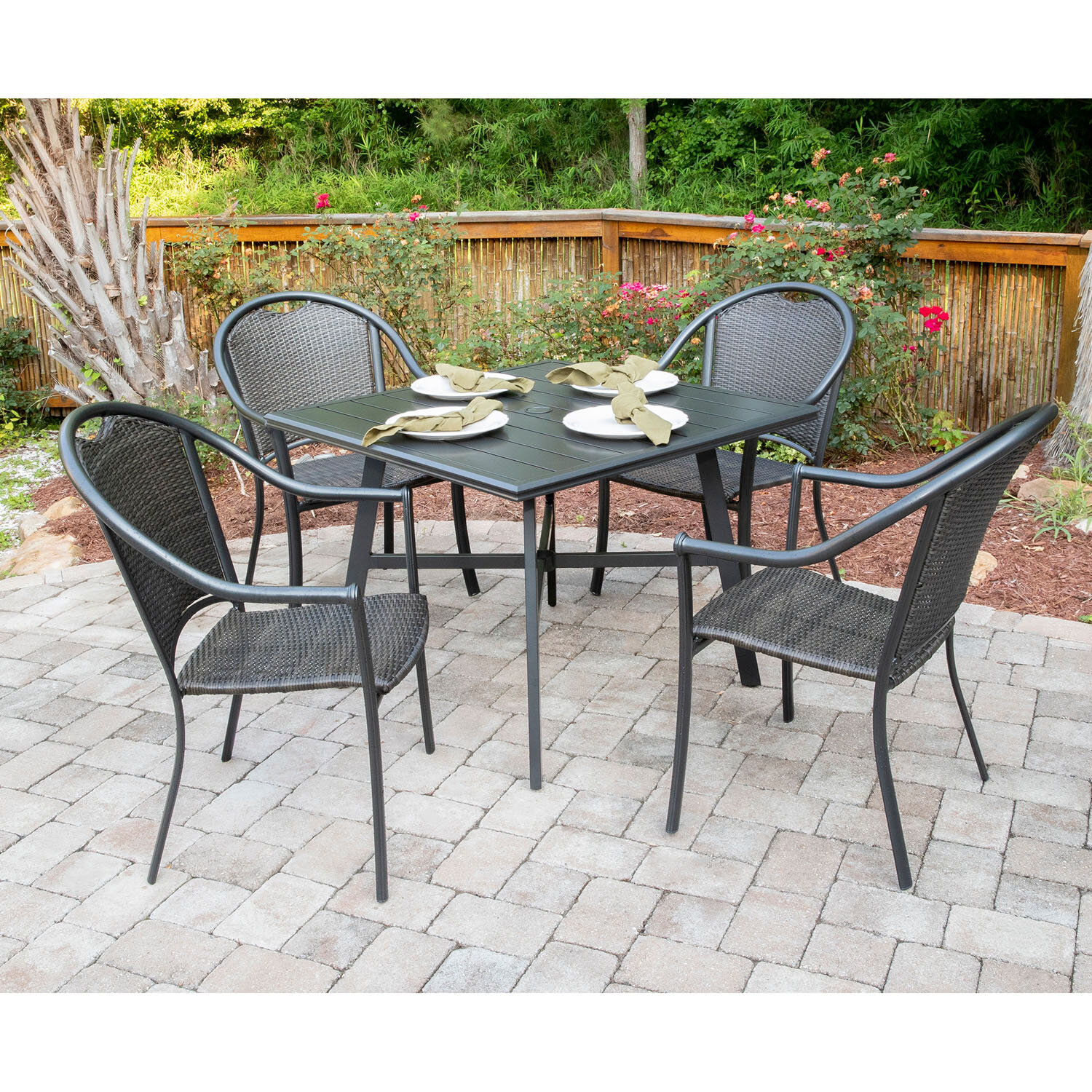 Newest Bearden 3 Piece Dining Sets Within Charlton Home Bearden 5 Piece Commercial Grade All Weather Patio Set (#12 of 20)
