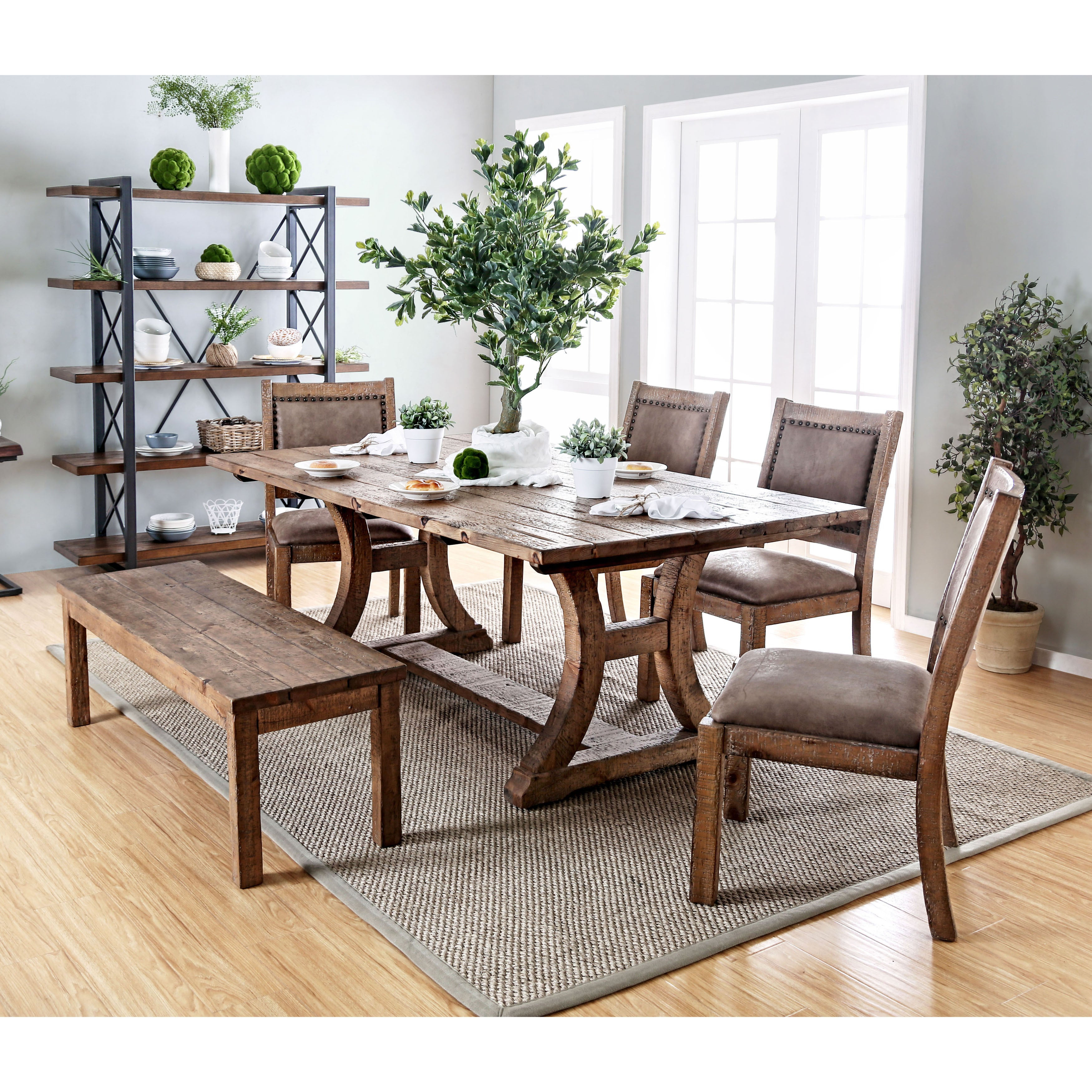 Newest Biggs 5 Piece Counter Height Solid Wood Dining Sets (Set Of 5) Intended For Buy Furniture Of America Kitchen & Dining Room Tables Online At (#15 of 20)