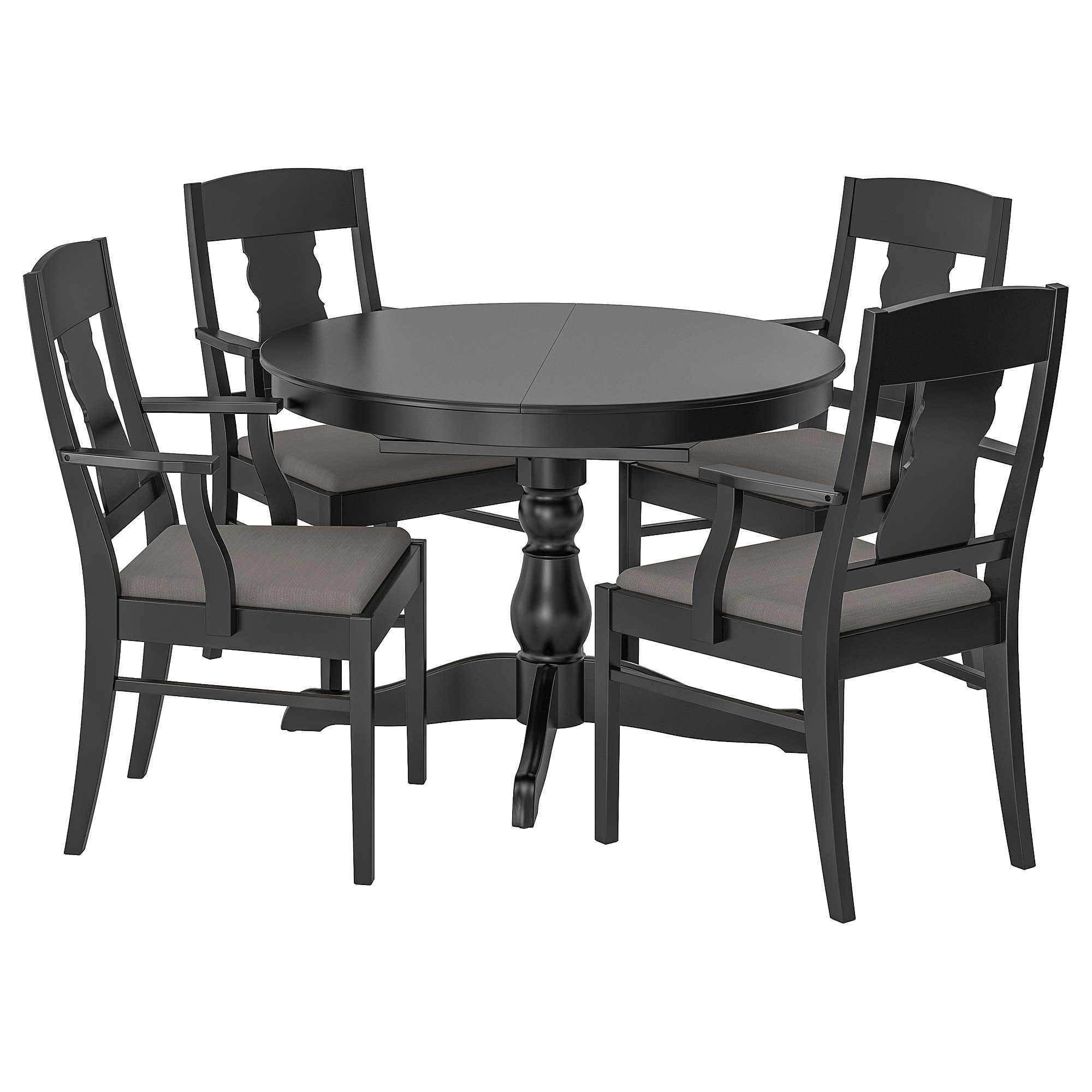 Newest Castellanos Modern 5 Piece Counter Height Dining Sets Regarding Ingatorp / Ingatorp Table And 4 Chairs – Black – Ikea (View 17 of 20)