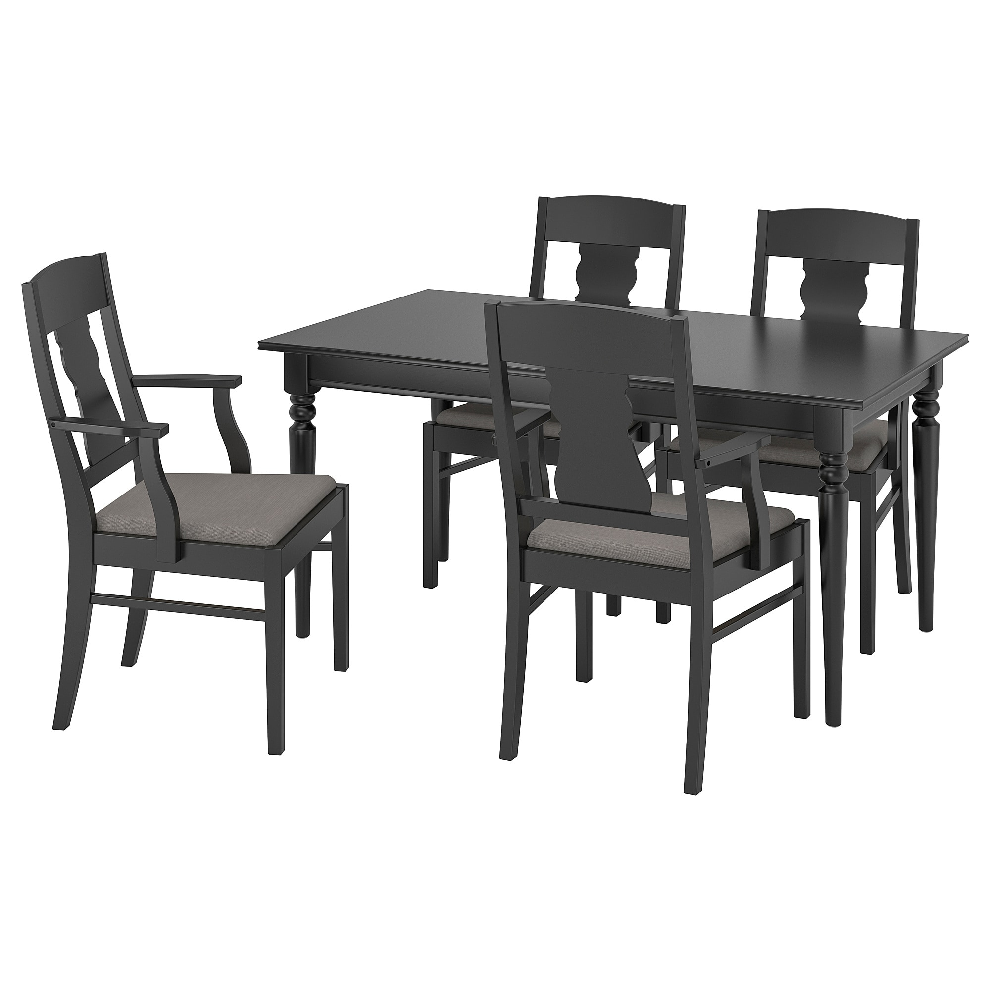 Newest Castellanos Modern 5 Piece Counter Height Dining Sets Within Ingatorp / Ingatorp Table And 4 Chairs – Black – Ikea (View 6 of 20)