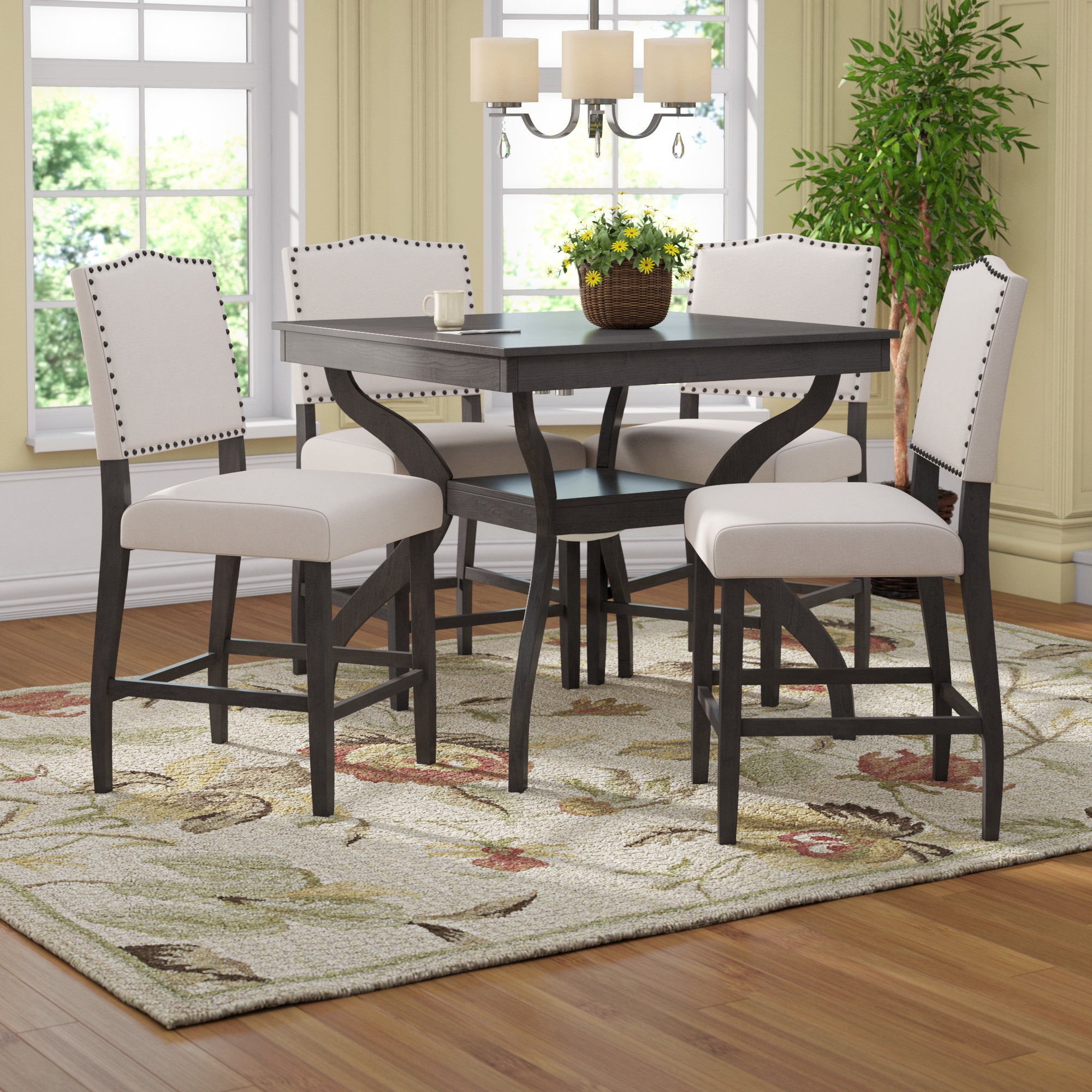 Newest Ephraim 5 Piece Dining Sets With Darby Home Co Campton 5 Piece Counter Height Dining Set & Reviews (View 2 of 20)