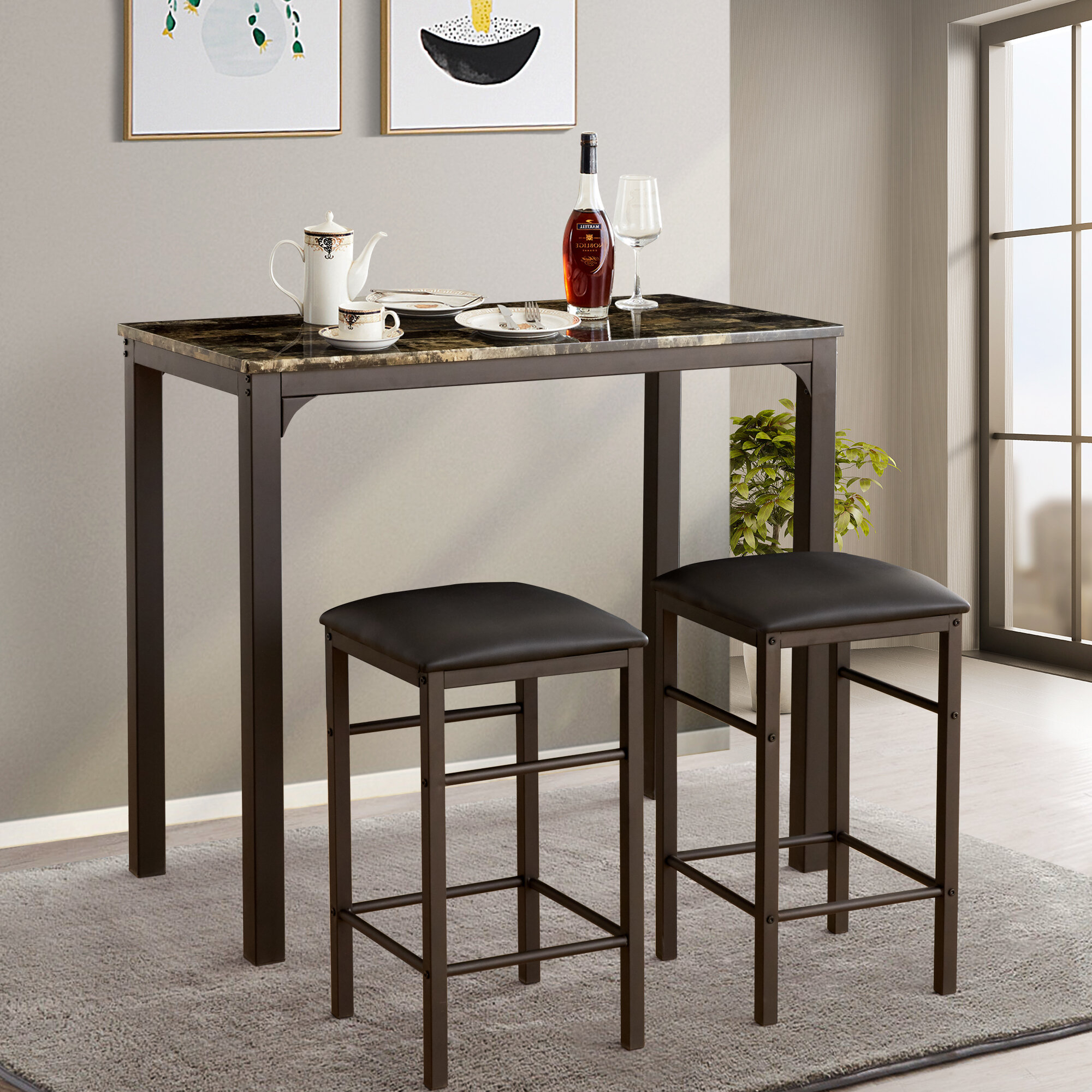 Newest Fleur De Lis Living Tappahannock 3 Piece Counter Height Dining Set With Nutter 3 Piece Dining Sets (#8 of 20)