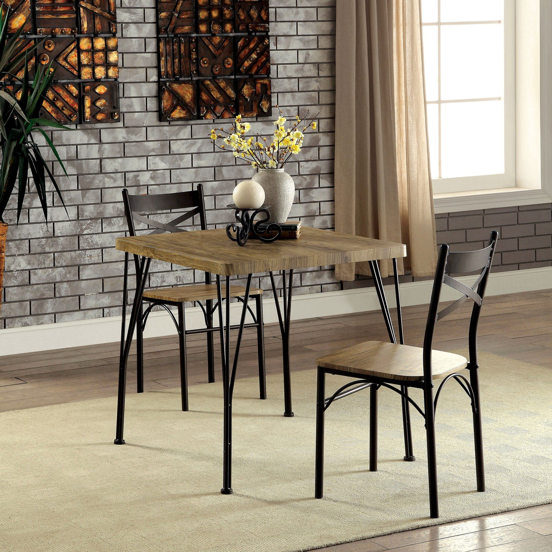 Newest Furniture Of America Amonica Industrial Style 3 Piece Casual Dining In Bearden 3 Piece Dining Sets (#14 of 20)